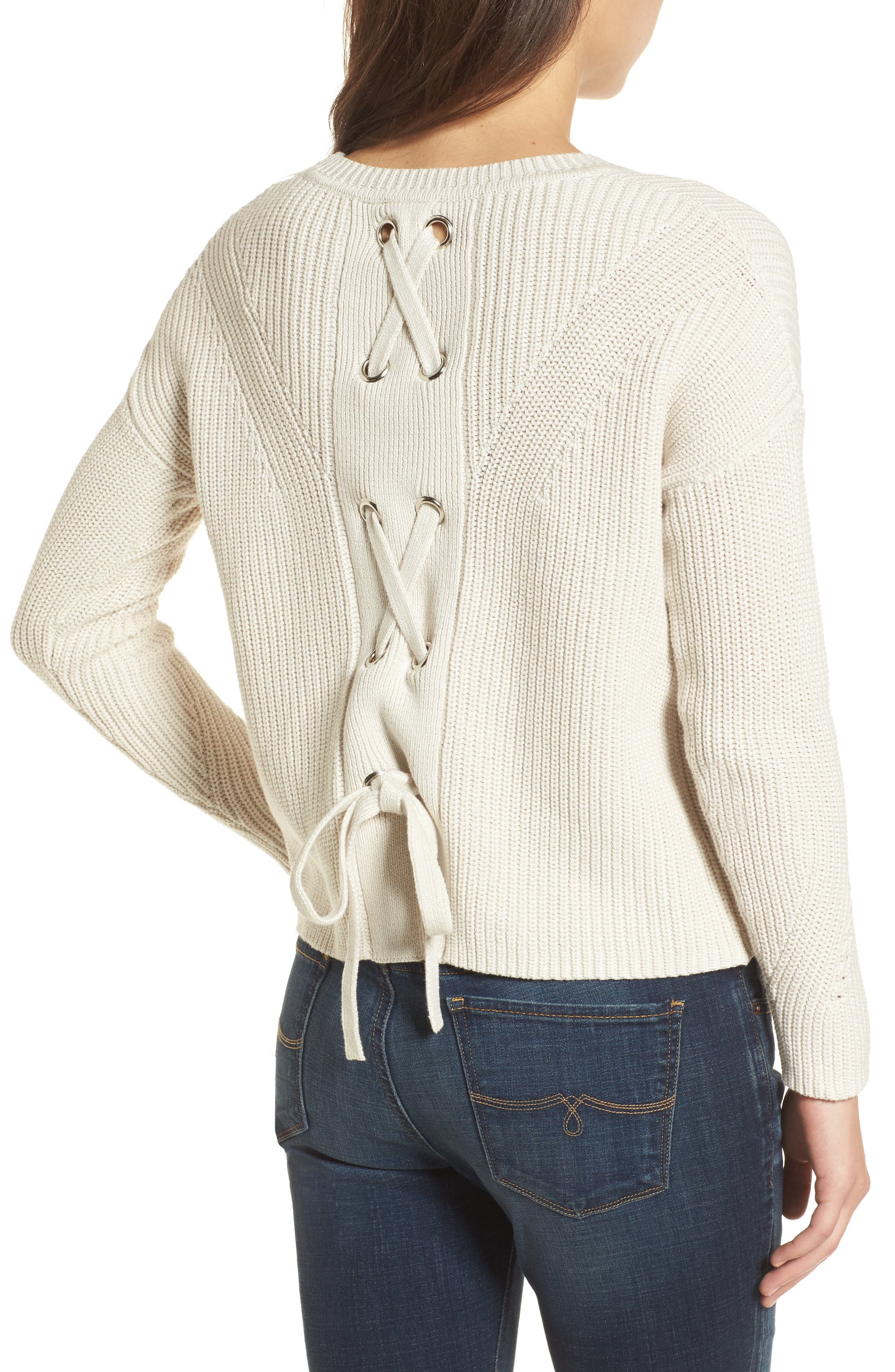 Lace-Up Back Sweater,                             Alternate thumbnail 2, color,                             250
