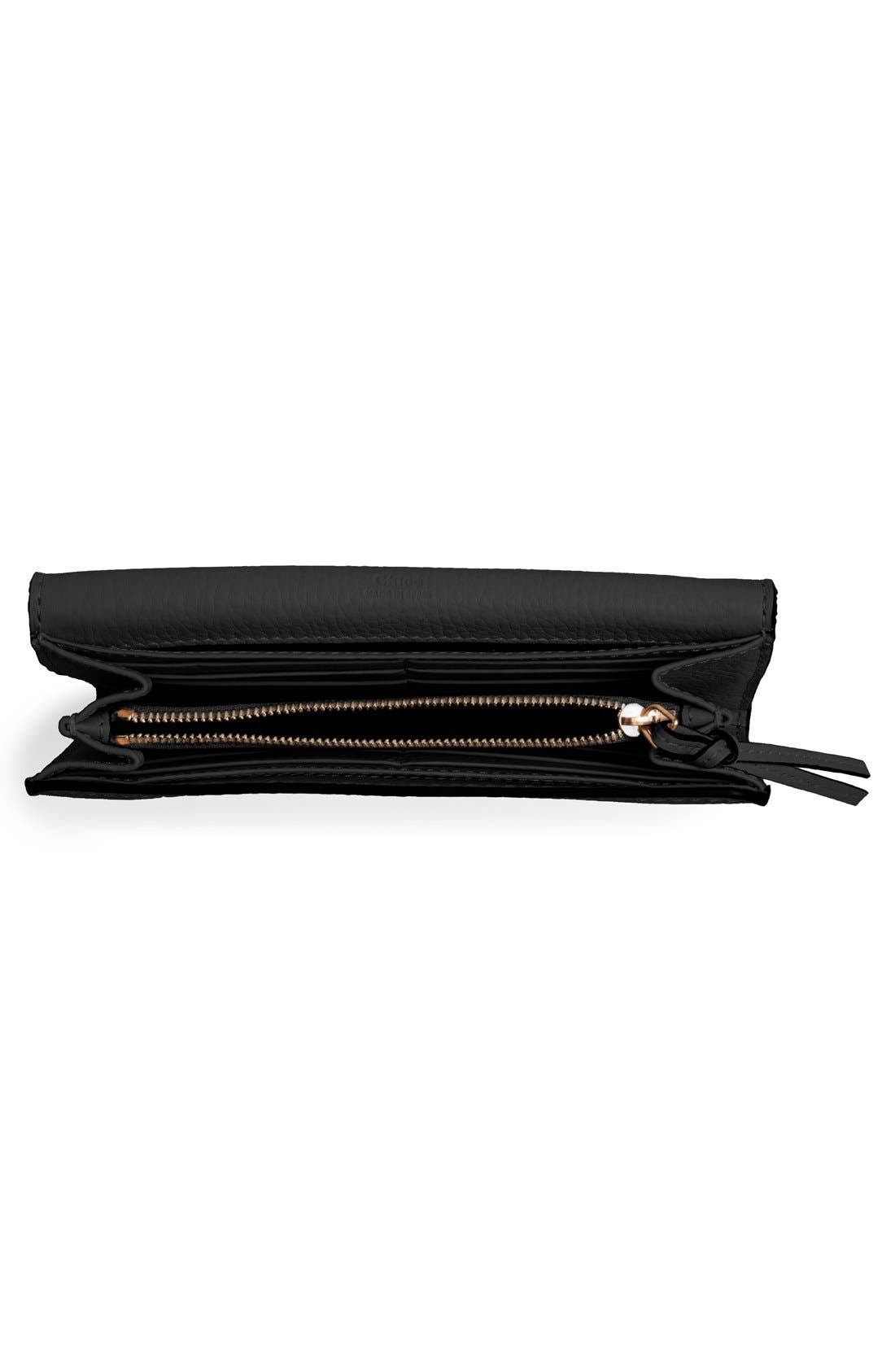 Marcie - Long Leather Flap Wallet,                             Alternate thumbnail 7, color,                             BLACK
