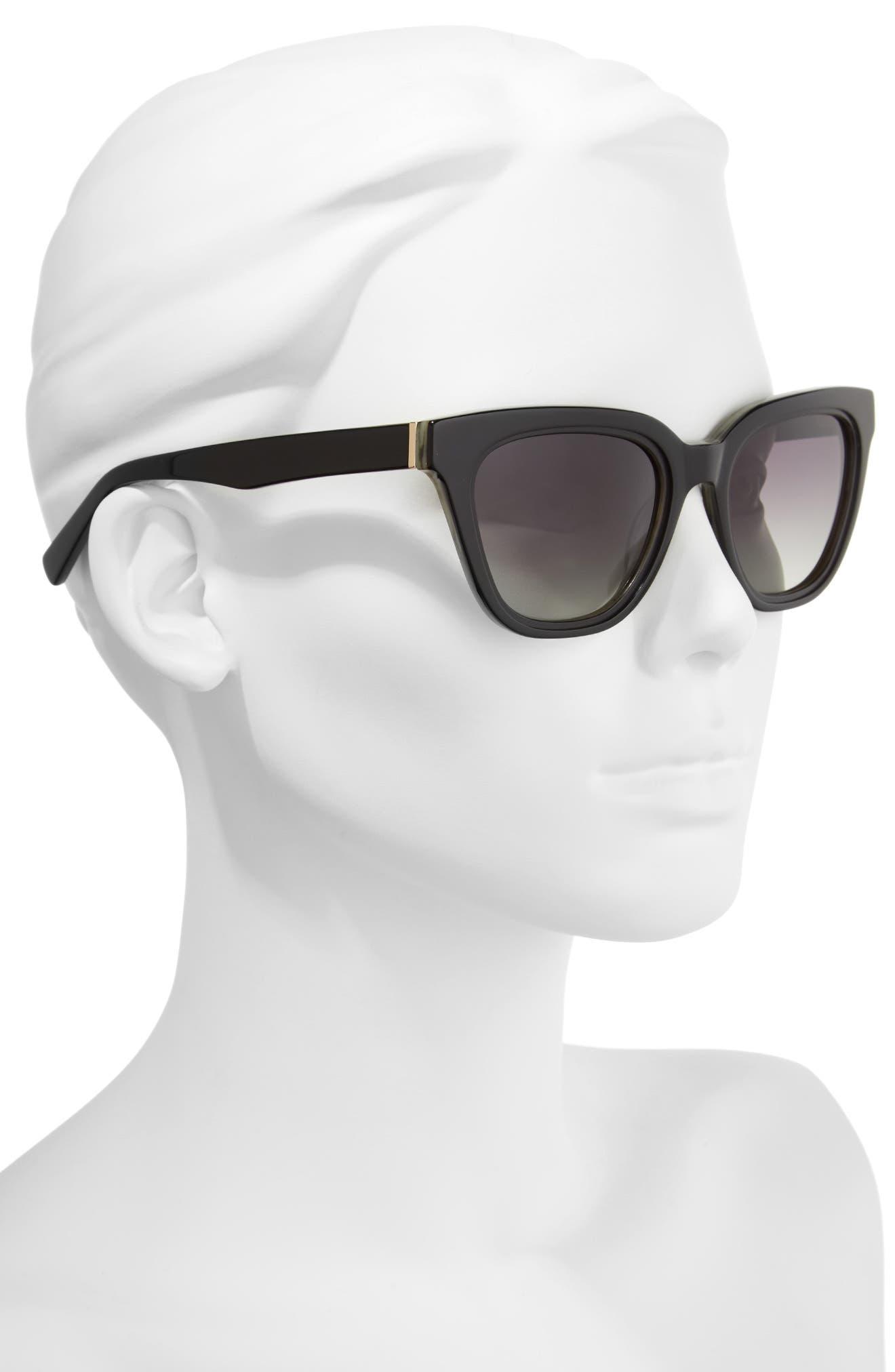 54mm Rectangular Cat Eye Sunglasses,                             Alternate thumbnail 2, color,                             001