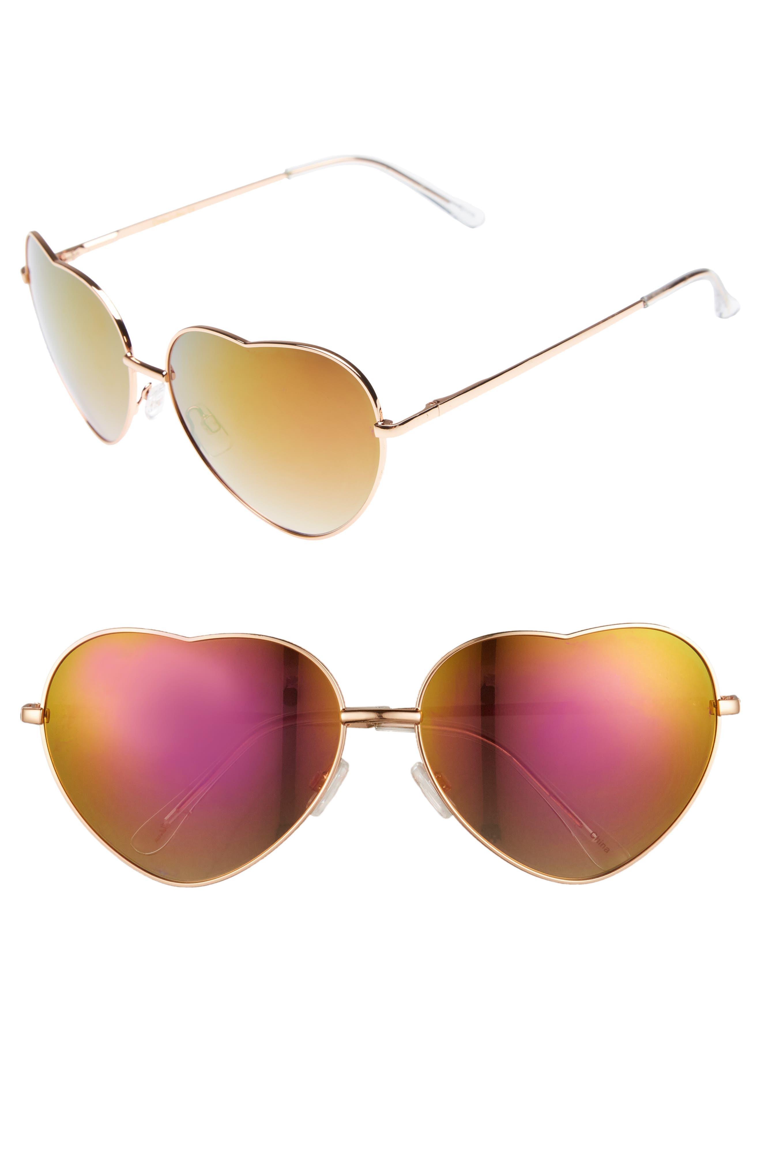 60mm Metal Heart Sunglasses,                             Main thumbnail 3, color,