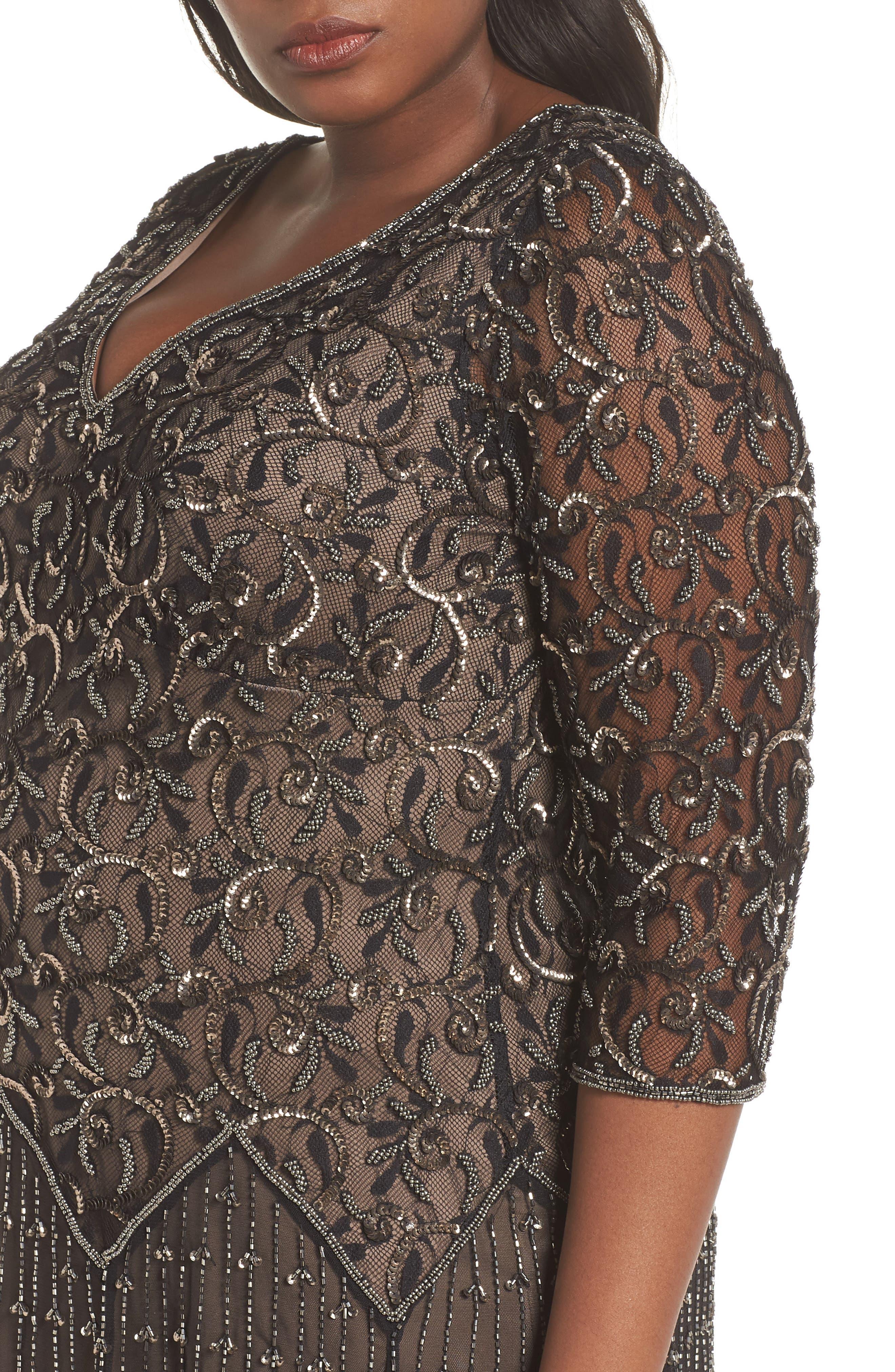 Embellished Mesh Gown,                             Alternate thumbnail 4, color,                             BLACK