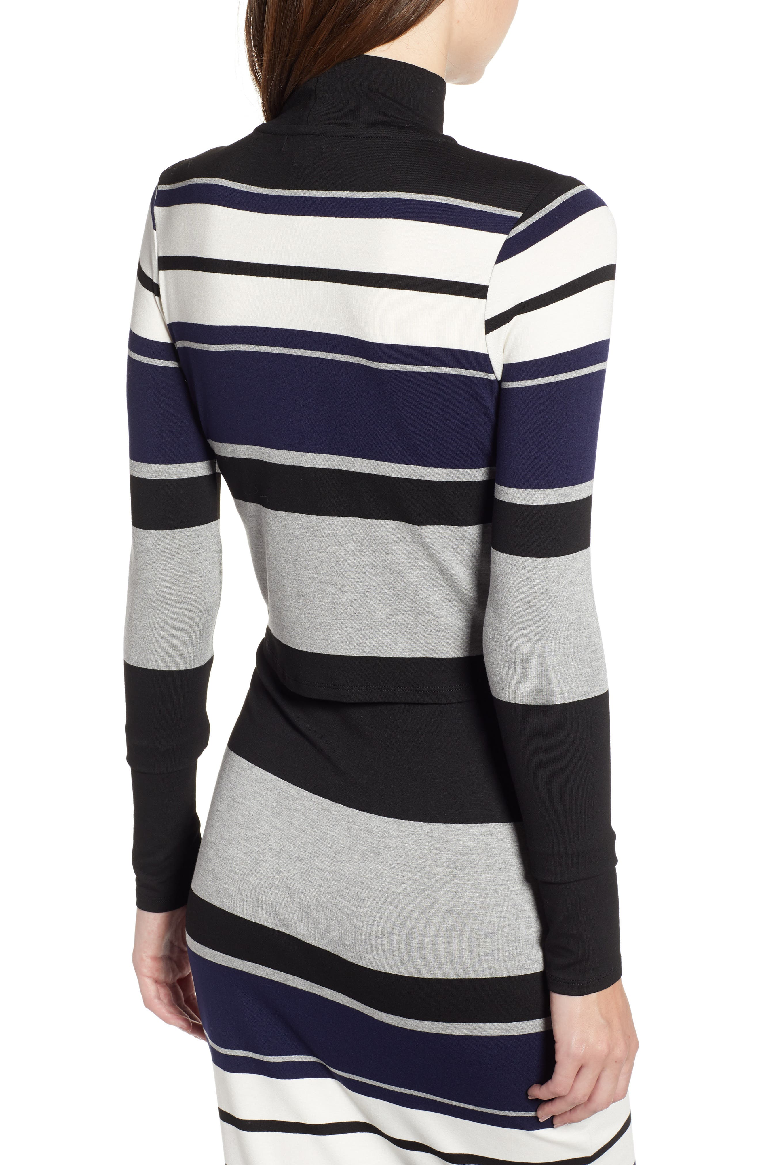 Stripe Mock Neck Tee,                             Alternate thumbnail 2, color,                             BLACK/ WHITE/ GREY