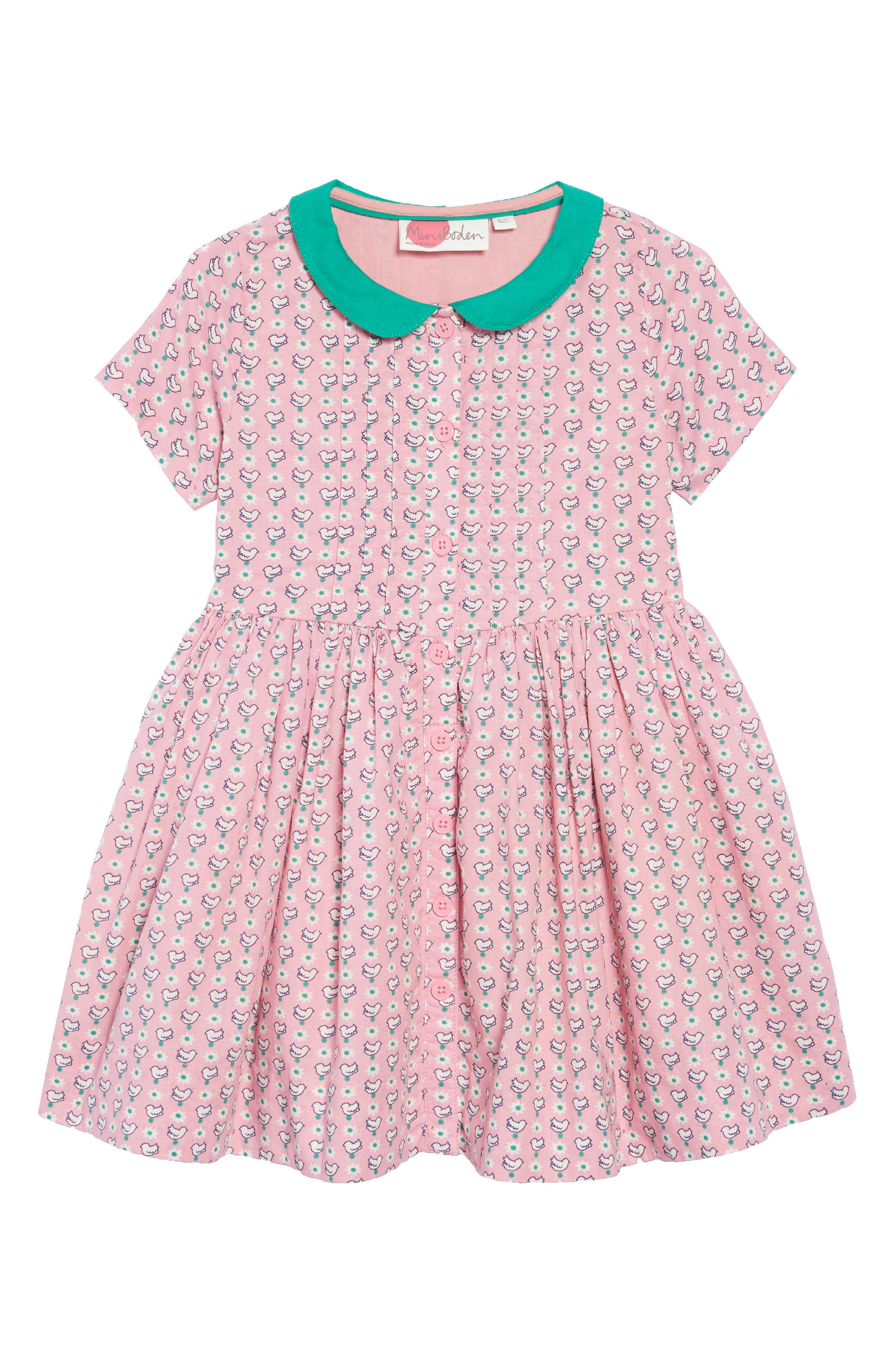 Nostalgic Collared Dress,                         Main,                         color, FORMICA PINK GEO BIRDS