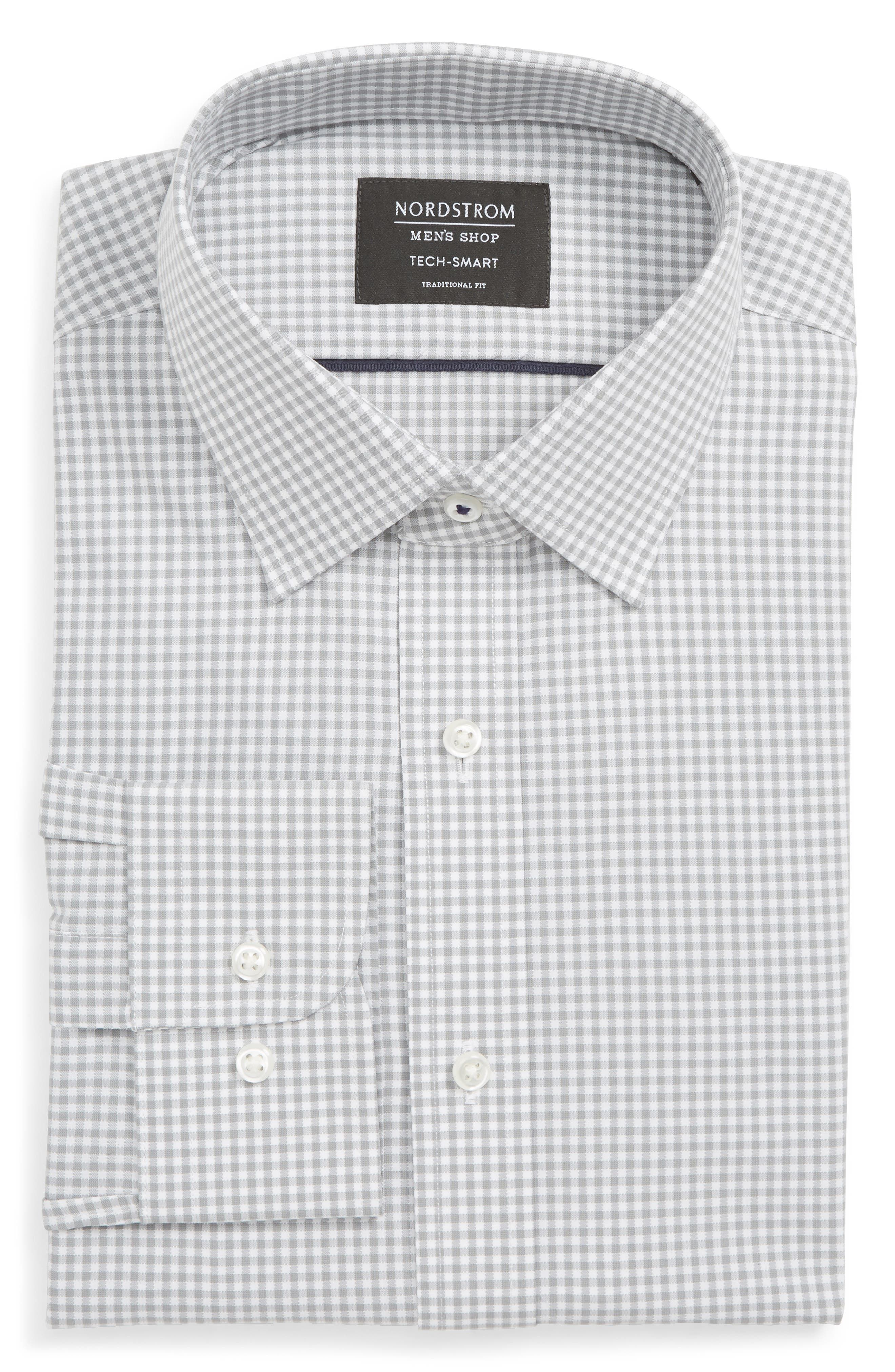 Tech-Smart Traditional Fit Check Stretch Dress Shirt,                             Main thumbnail 1, color,                             GREY SLEET