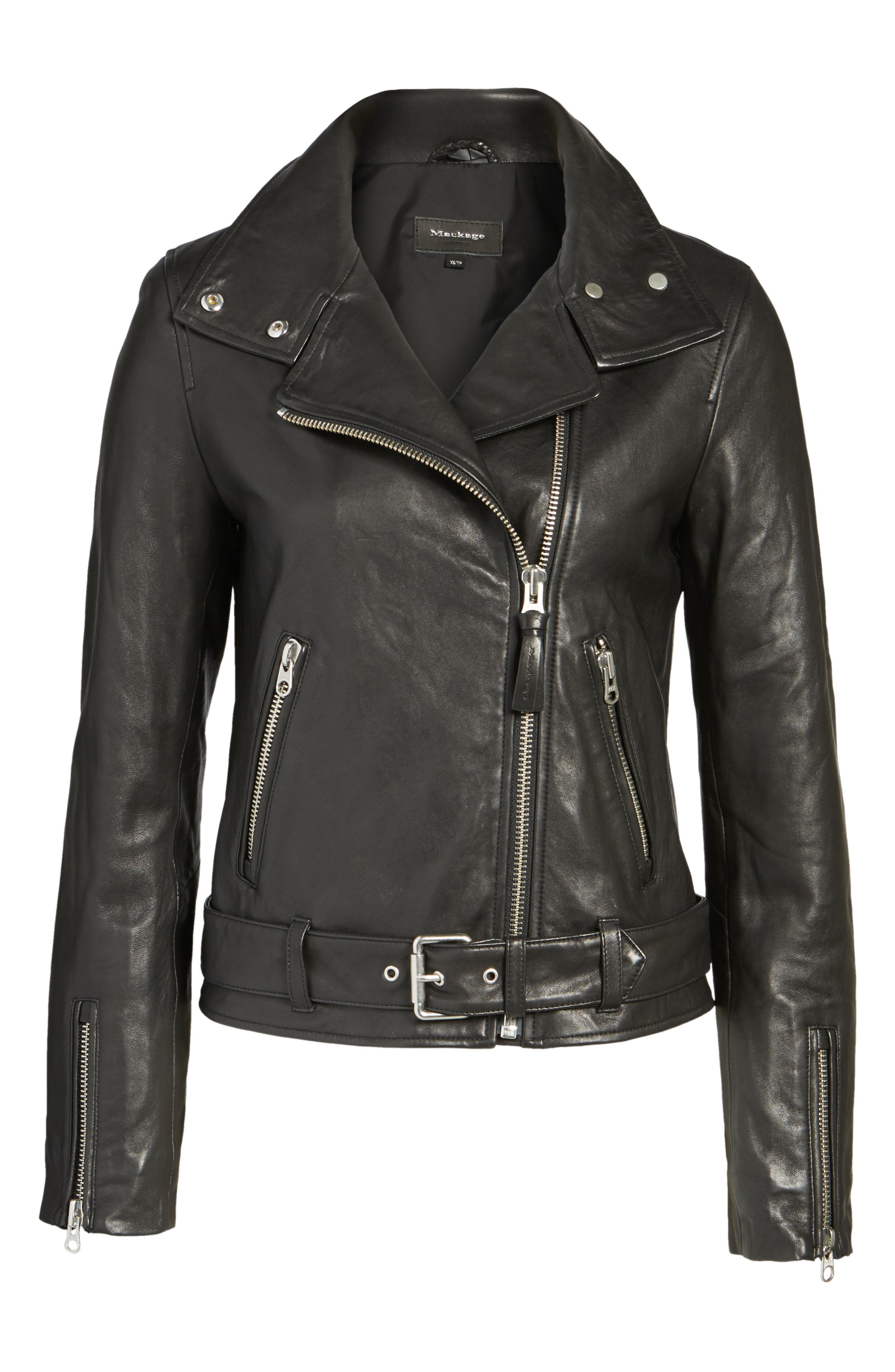 Miela-N Belted Leather Moto Jacket,                             Alternate thumbnail 5, color,                             001