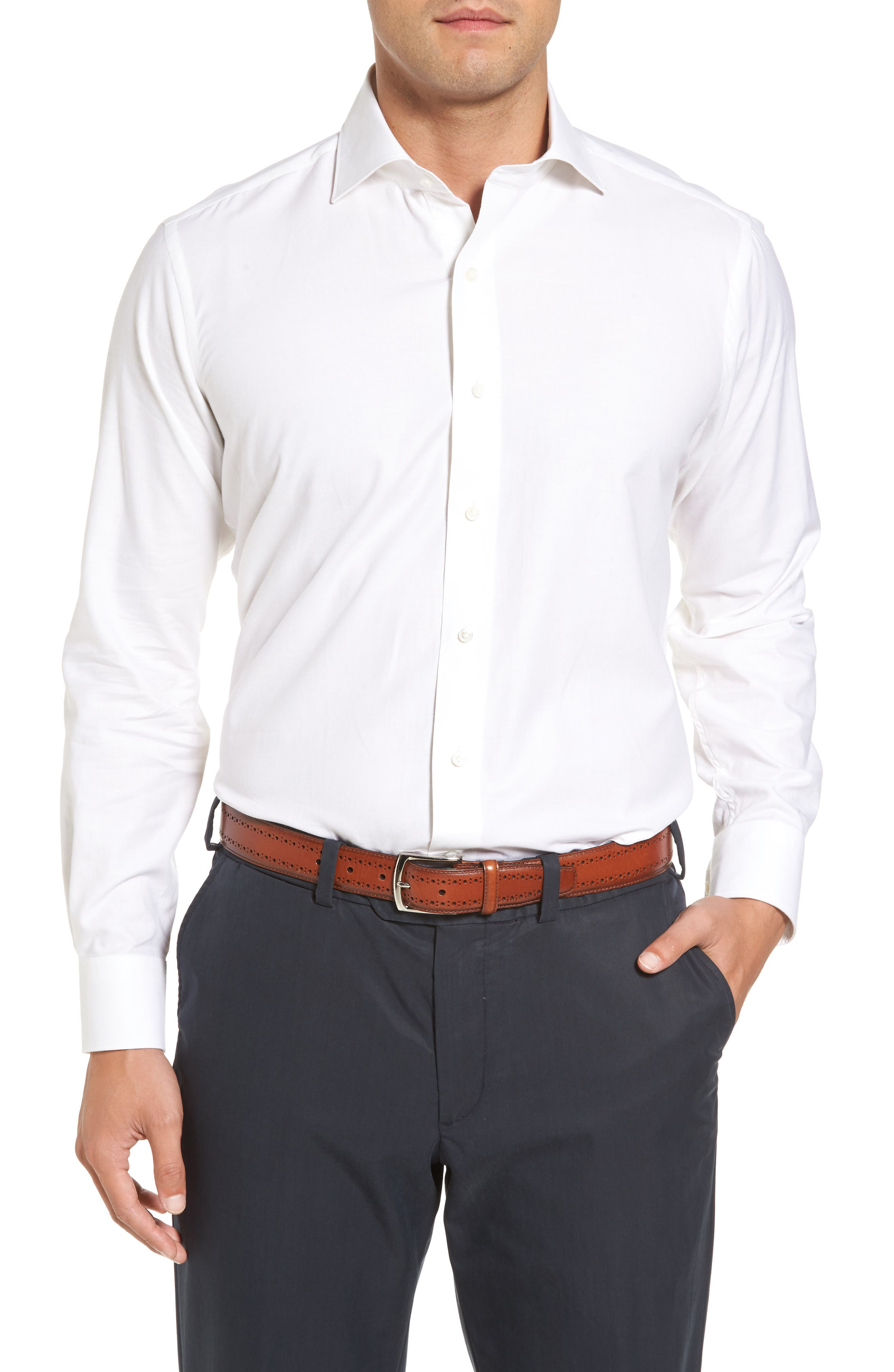 Silky Touch Herringbone Sport Shirt,                         Main,                         color, 100