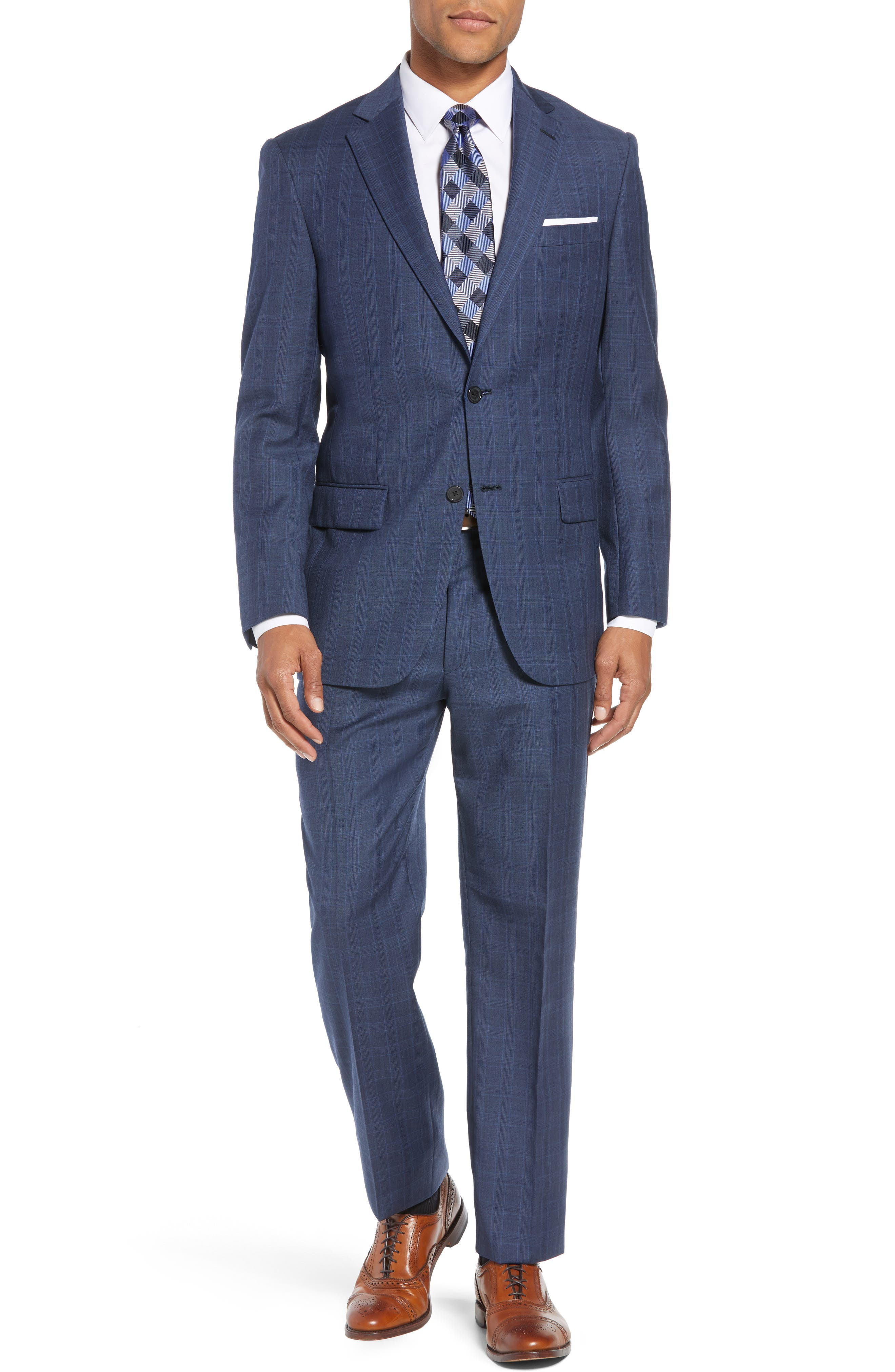 New York Classic Fit Plaid Wool Suit,                         Main,                         color, MED BLUE