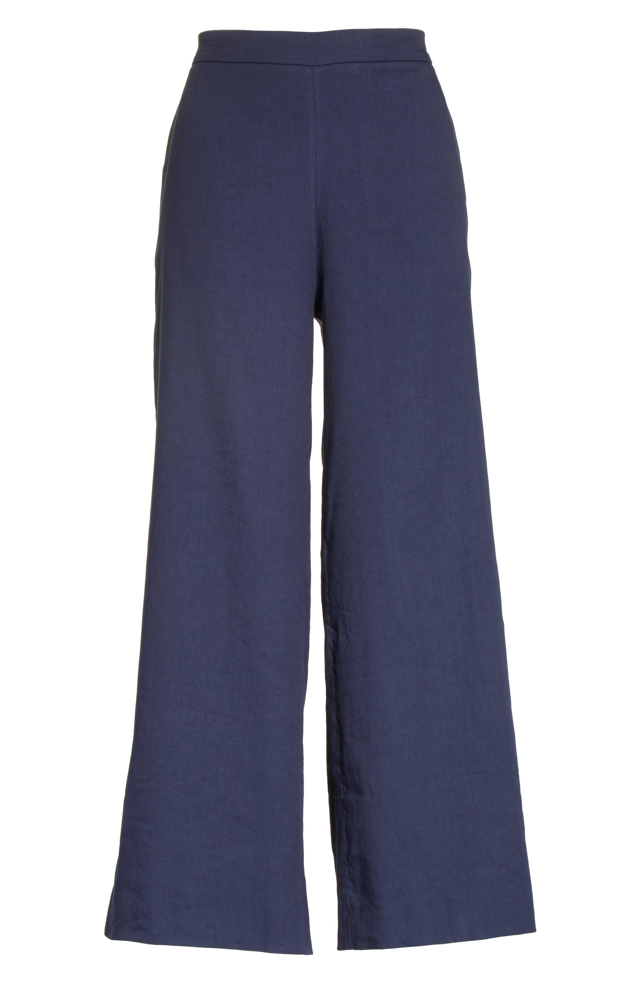 Linen Blend Wide Leg Crop Pants,                             Alternate thumbnail 6, color,                             400