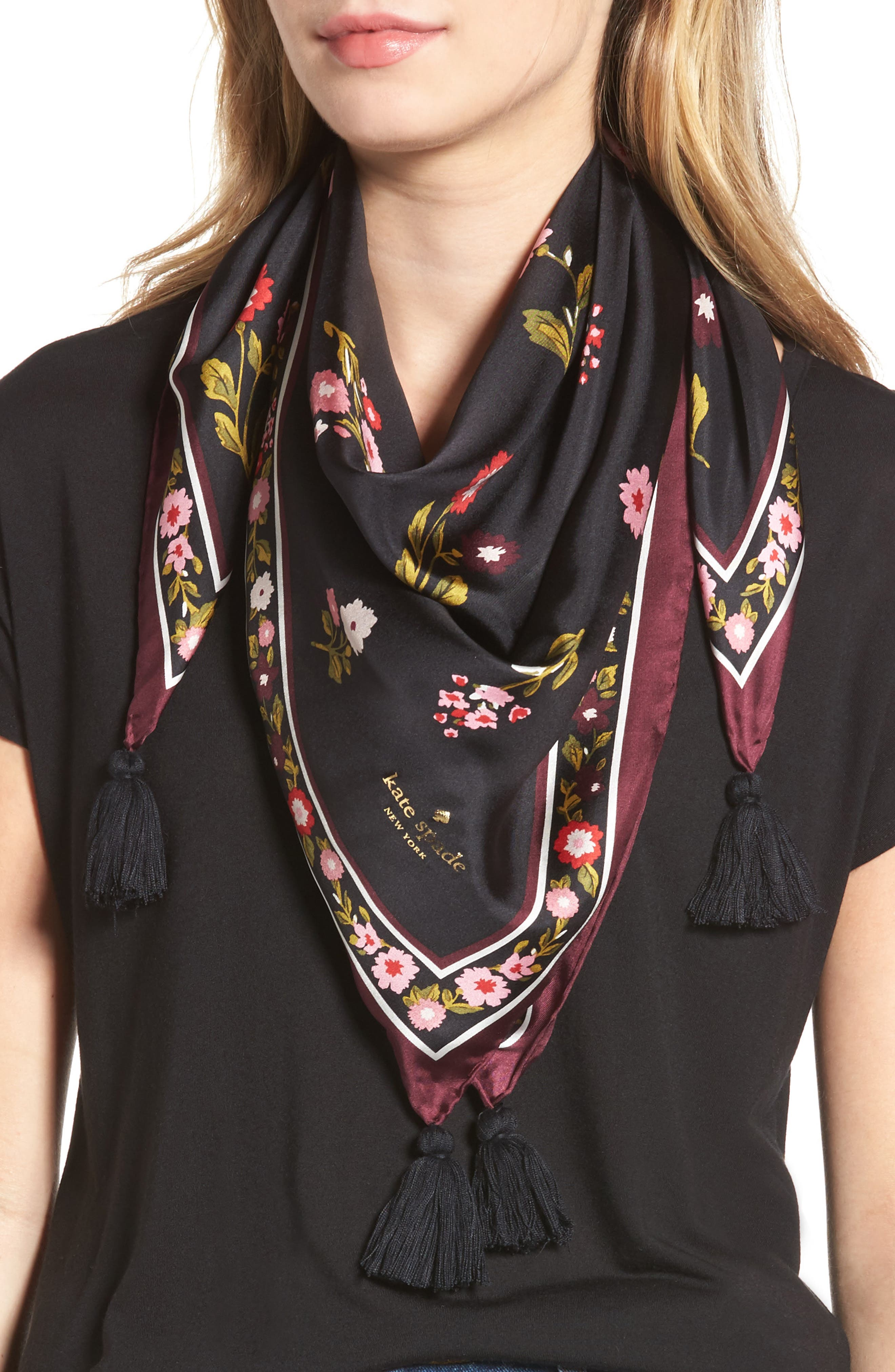 in bloom square silk scarf,                             Main thumbnail 1, color,                             001