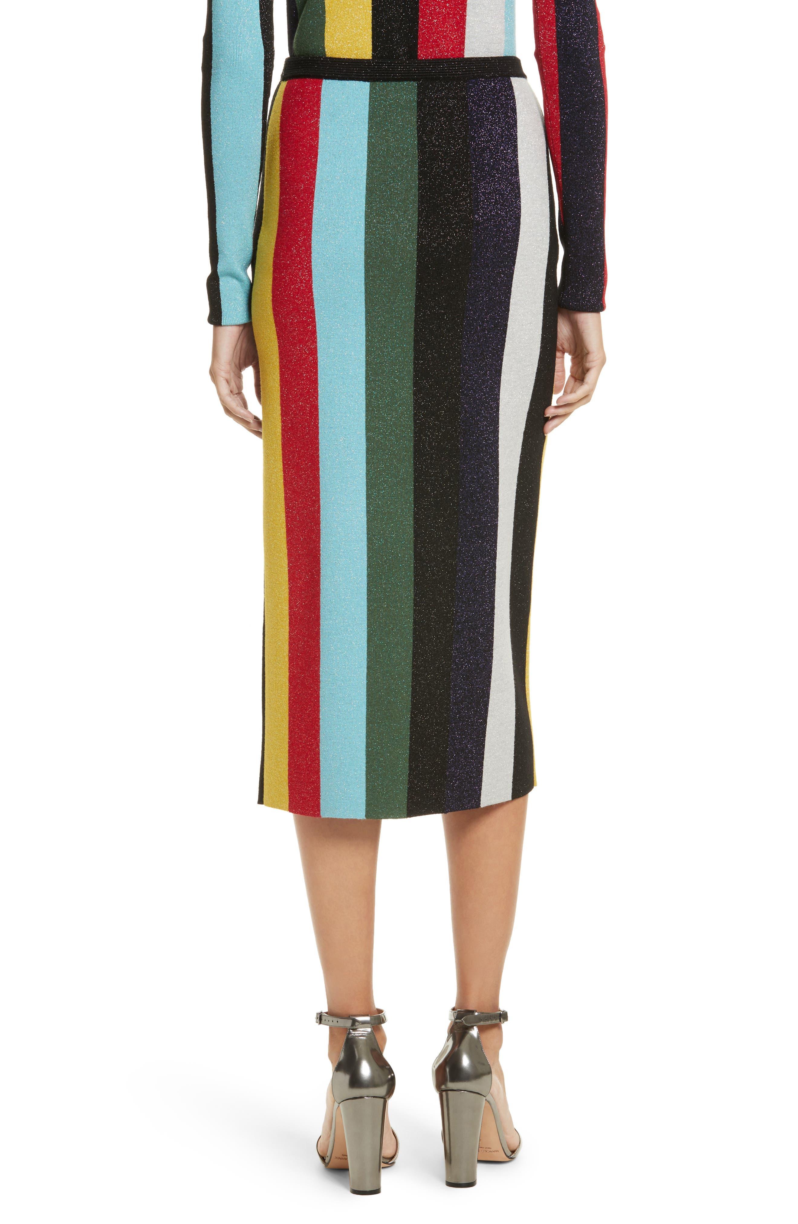 Metallic Stripe Knit Pencil Skirt,                             Alternate thumbnail 2, color,                             008