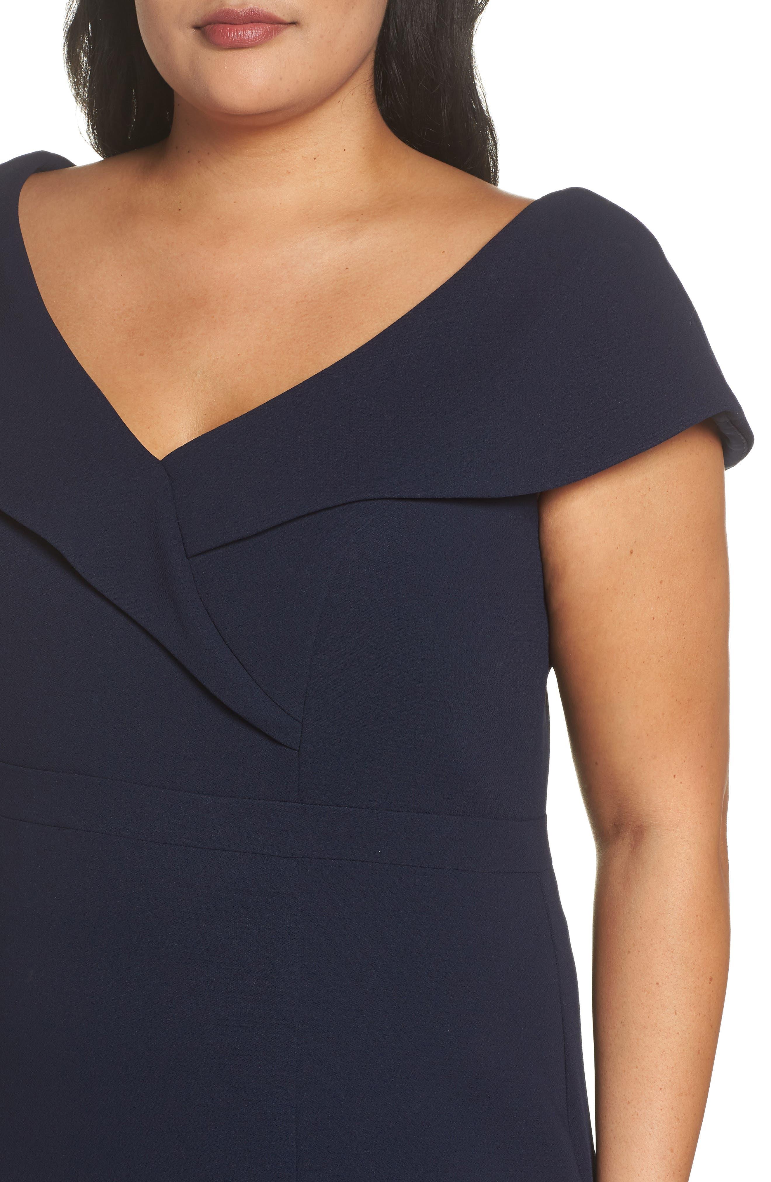 Foldover V-Neck Gown,                             Alternate thumbnail 4, color,                             NAVY