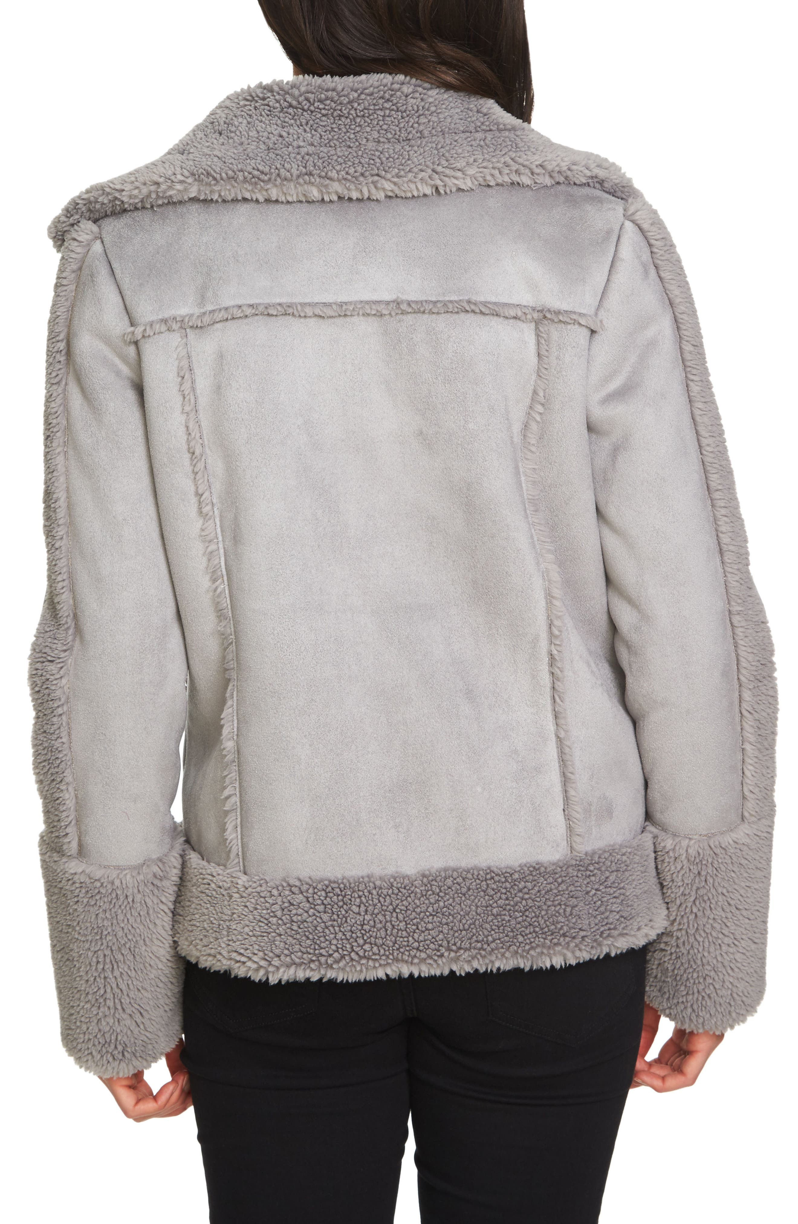 Faux Shearling Moto Jacket,                             Alternate thumbnail 2, color,                             055