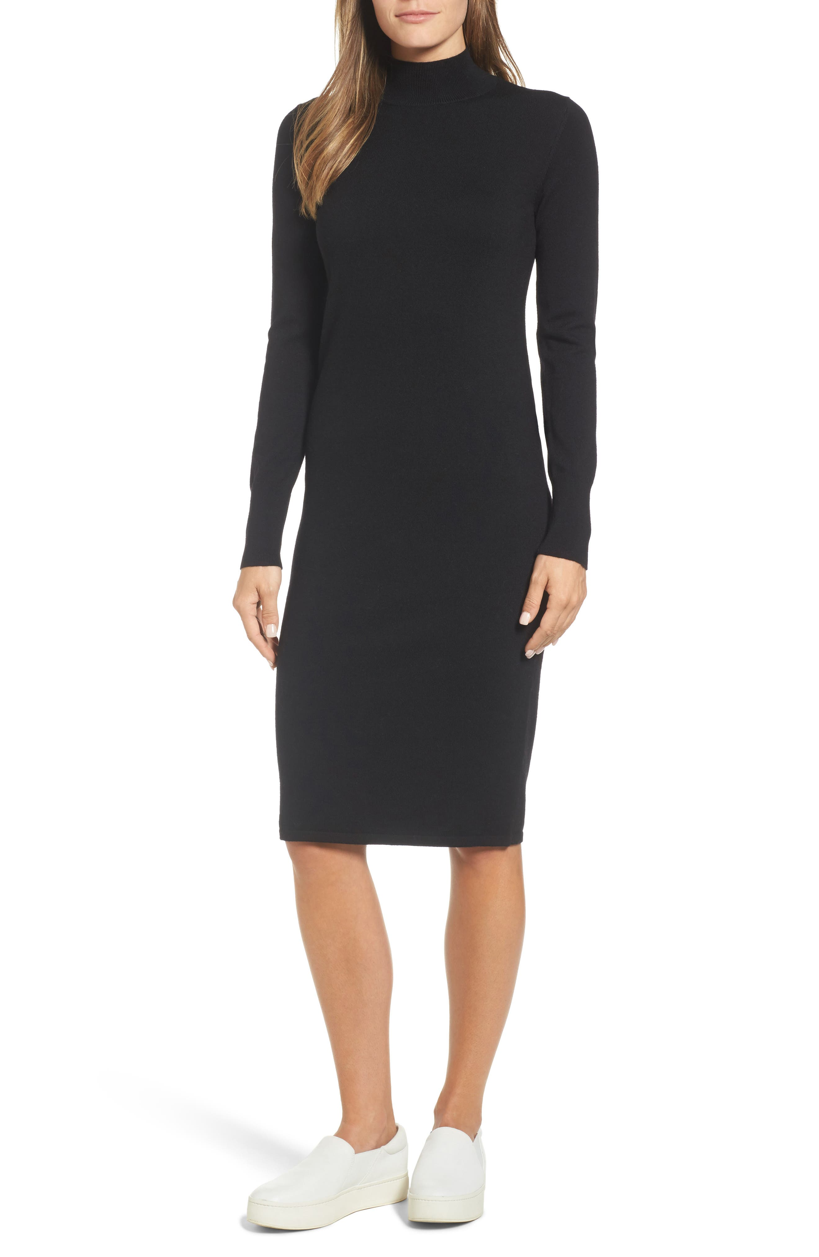 Italian Merino Wool Sweater Dress,                         Main,                         color, 001
