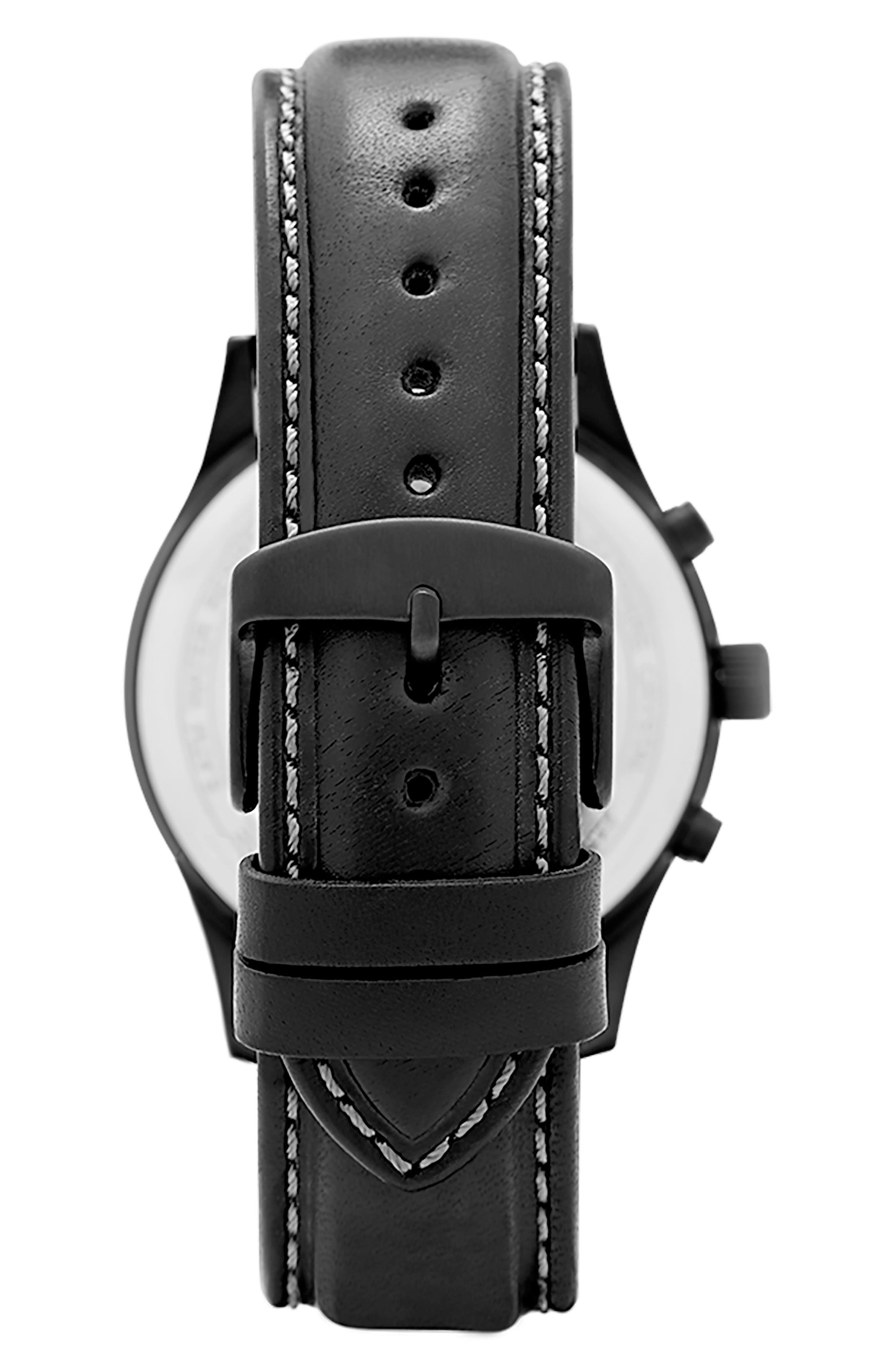 LEONARD & CHURCH,                             Bowery Chronograph Leather Strap Watch, 43mm,                             Alternate thumbnail 2, color,                             001
