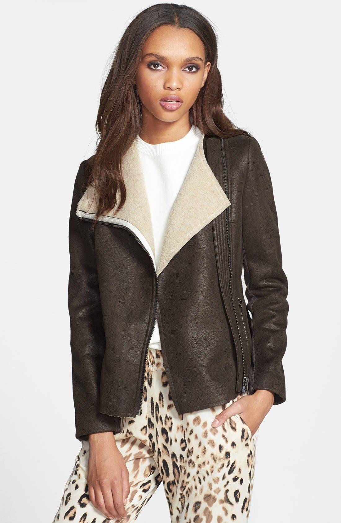 Faux Shearling Moto Jacket, Main, color, 341