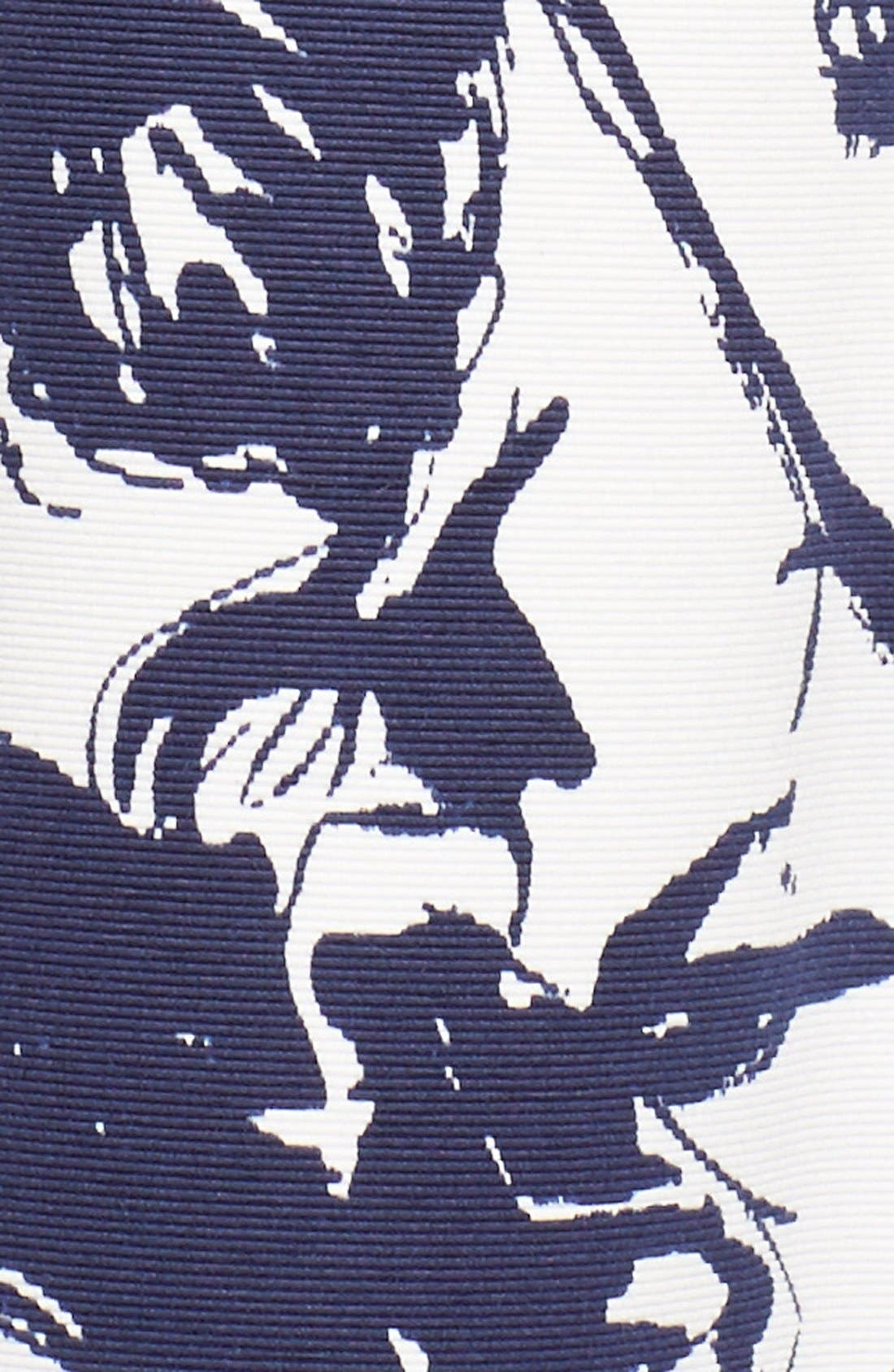Floral Print Faille Midi Dress,                             Alternate thumbnail 6, color,                             407