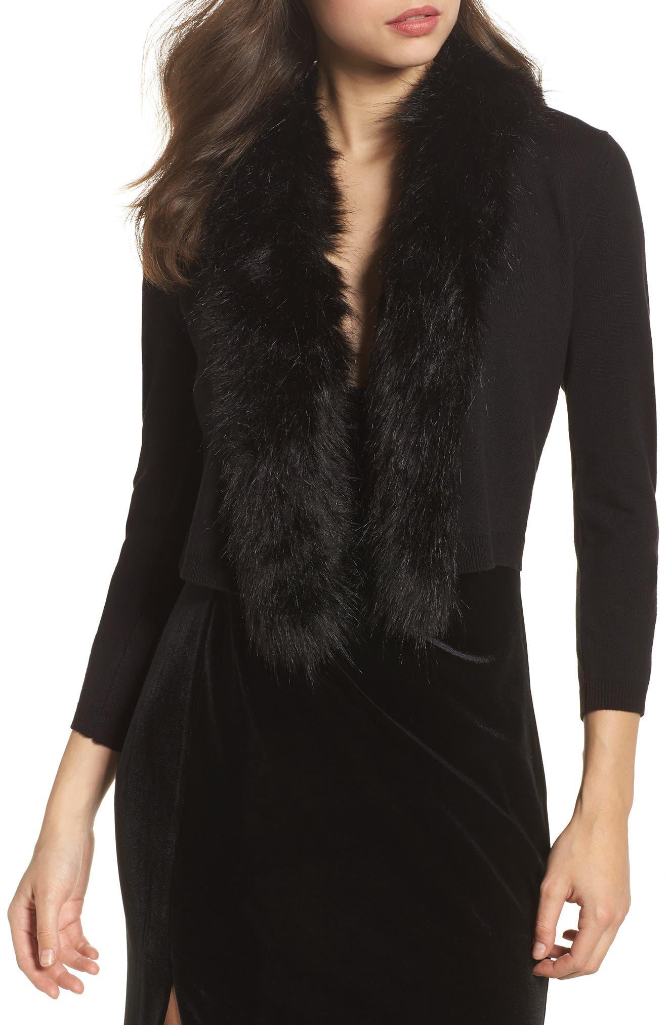 Faux Fur Trim Cardigan,                             Main thumbnail 1, color,                             BLACK