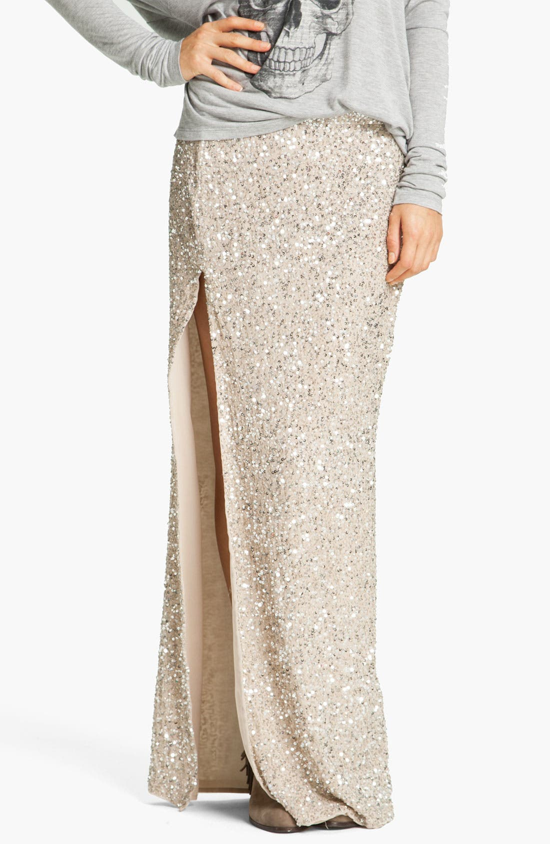 HAUTE HIPPIE Embellished Maxi Skirt, Main, color, 040