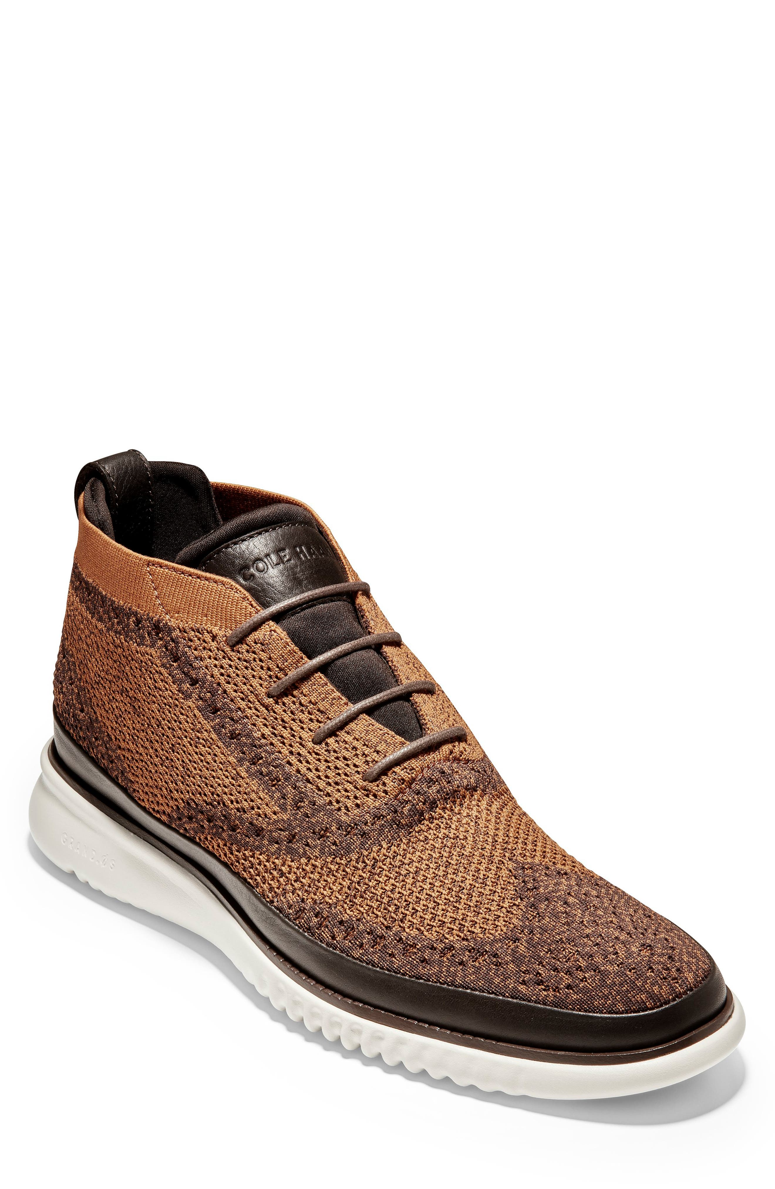 2.ZeroGrand Stitchlite Water Resistant Chukka Boot,                             Main thumbnail 1, color,                             BROWN HEATHERED KNIT