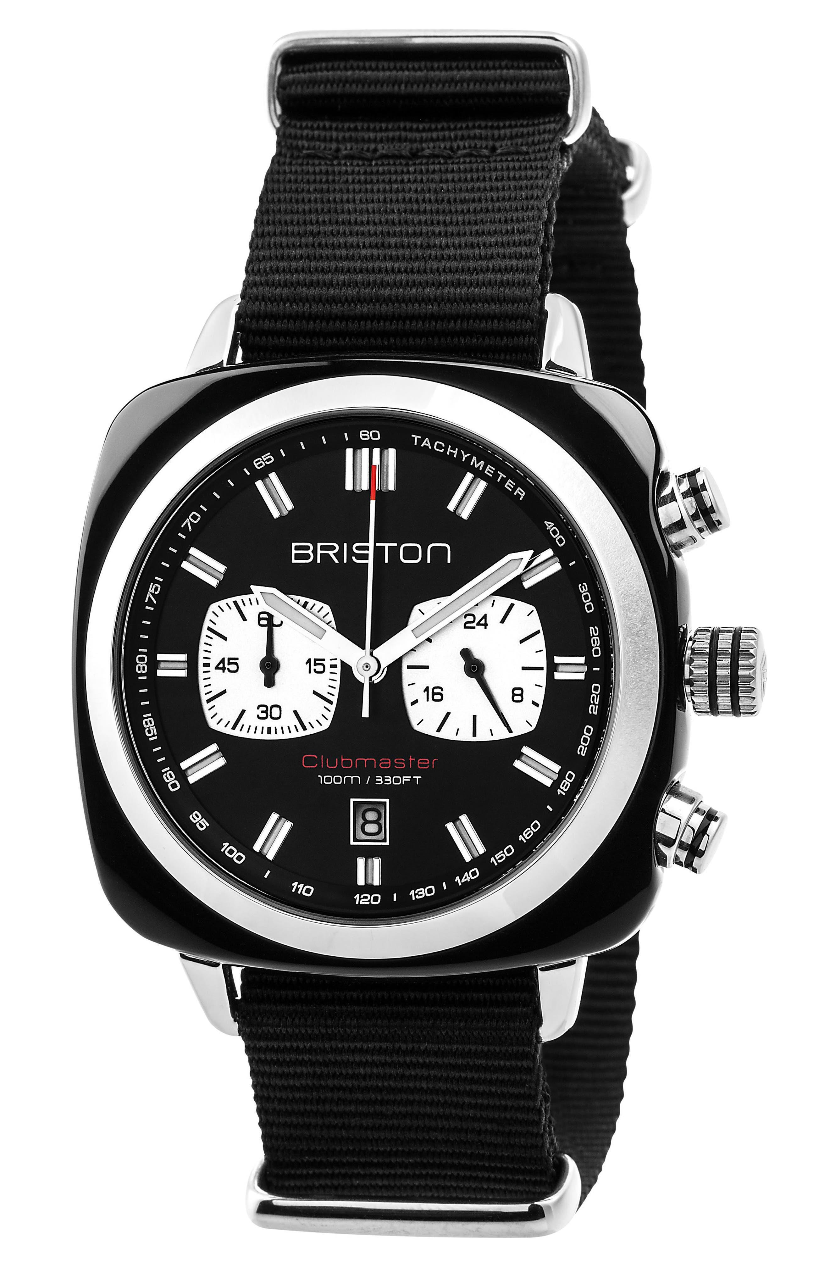 Clubmaster Sport Chronograph Nylon Strap Watch, 42mm,                             Main thumbnail 1, color,                             001