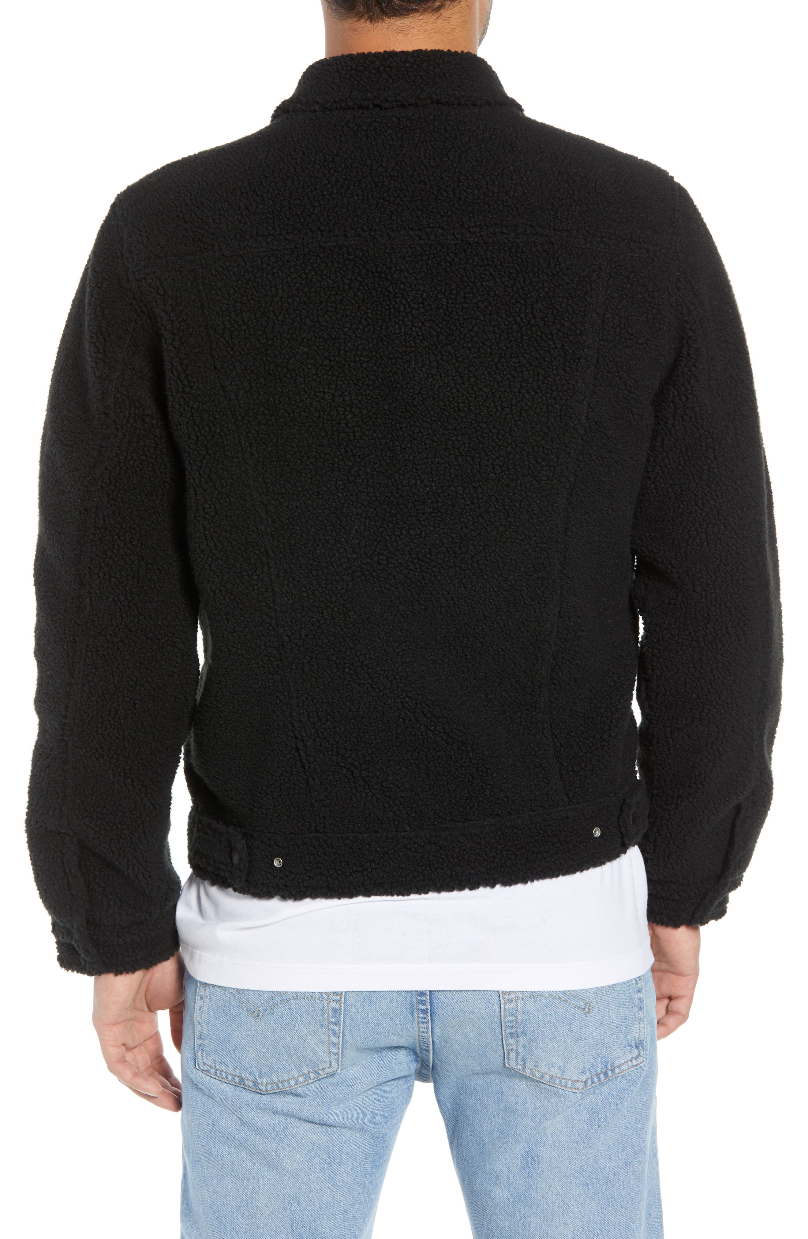Fleece Trucker Jacket,                             Alternate thumbnail 2, color,                             BLACK