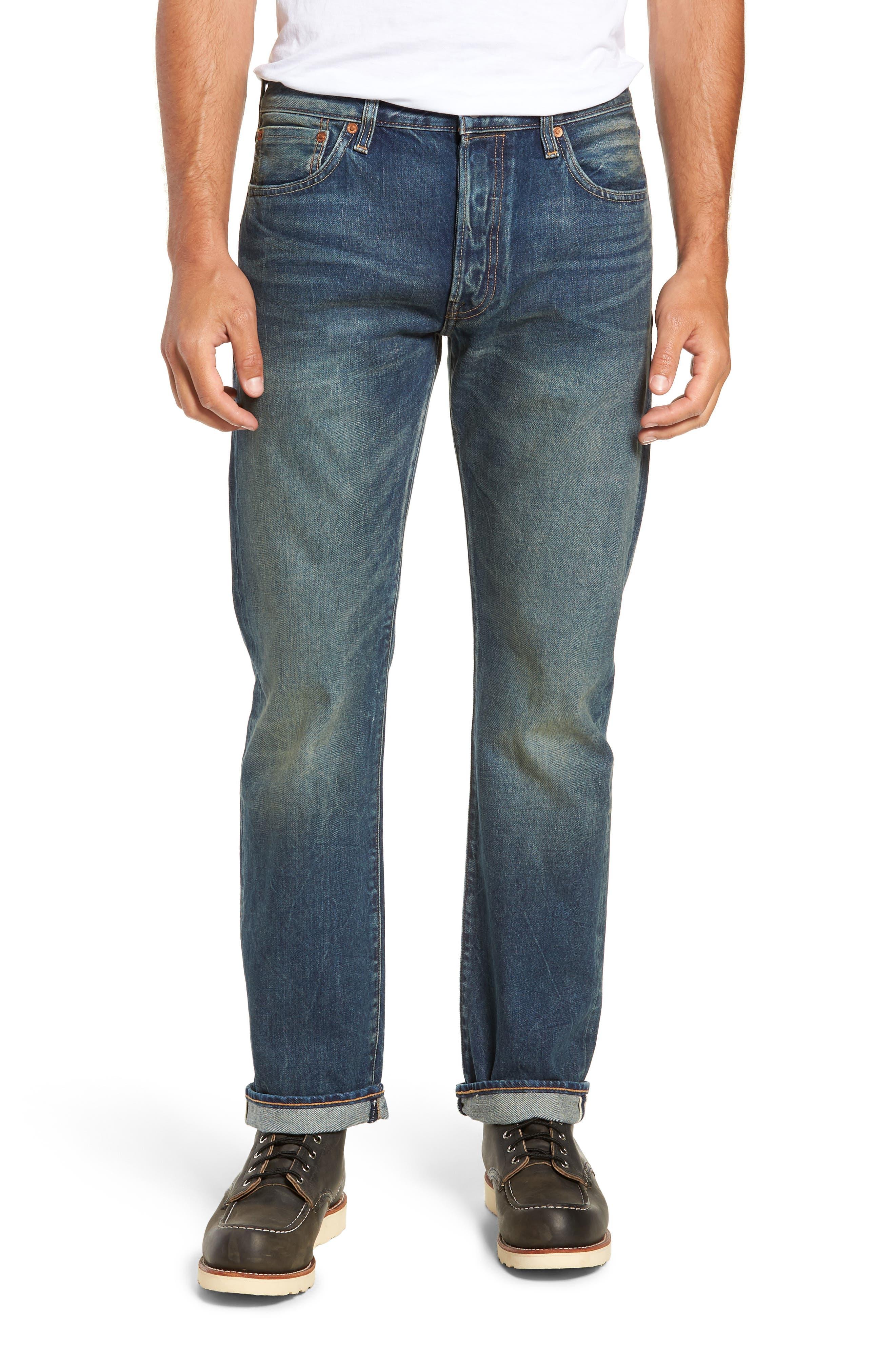 501<sup>®</sup> Original Straight Leg Selvedge Jeans,                         Main,                         color, 401