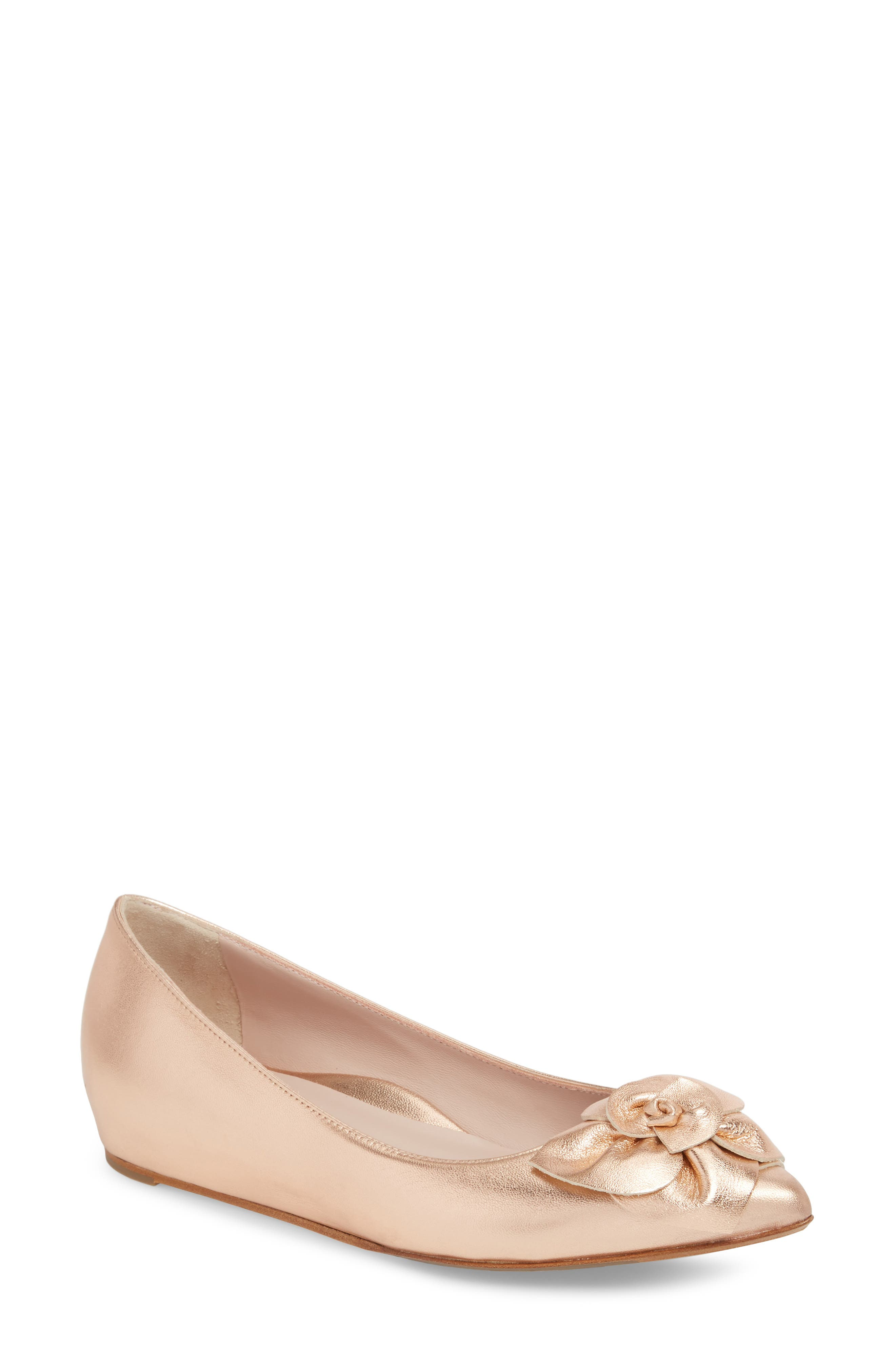 Rialta Flat,                             Main thumbnail 1, color,                             ROSE GOLD LEATHER
