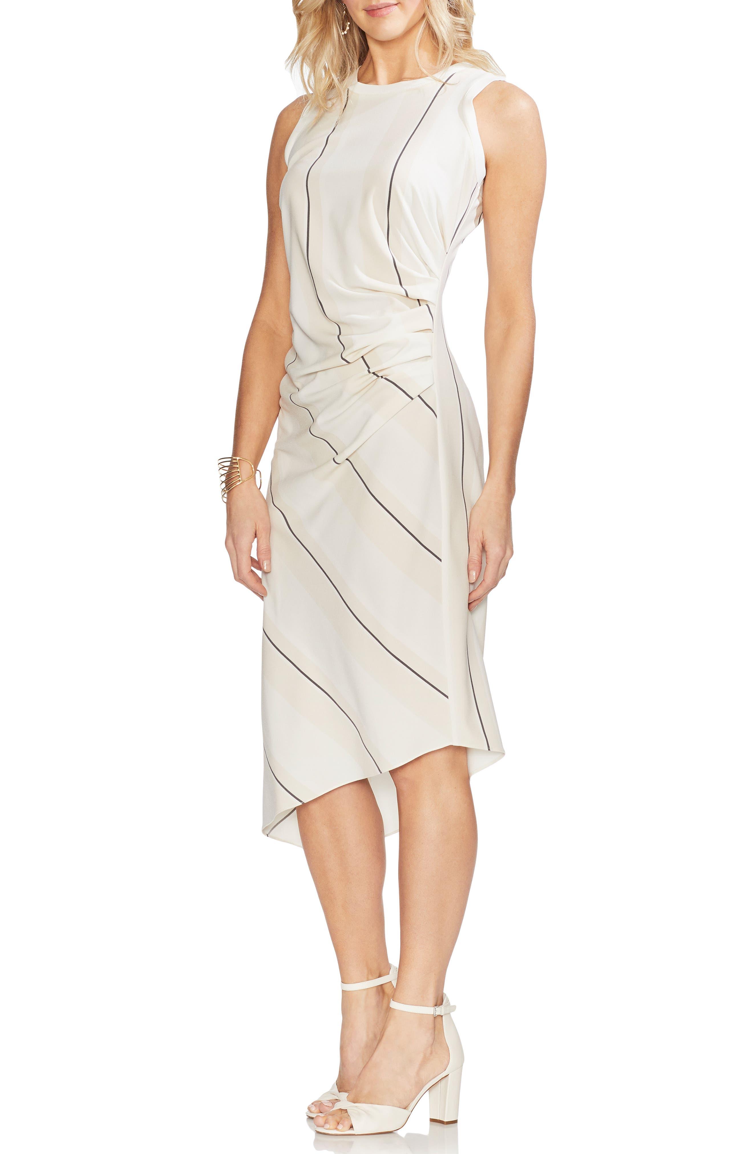 Vince Camuto Desertscape Stripe Asymmetrical Body-Con Dress, Ivory