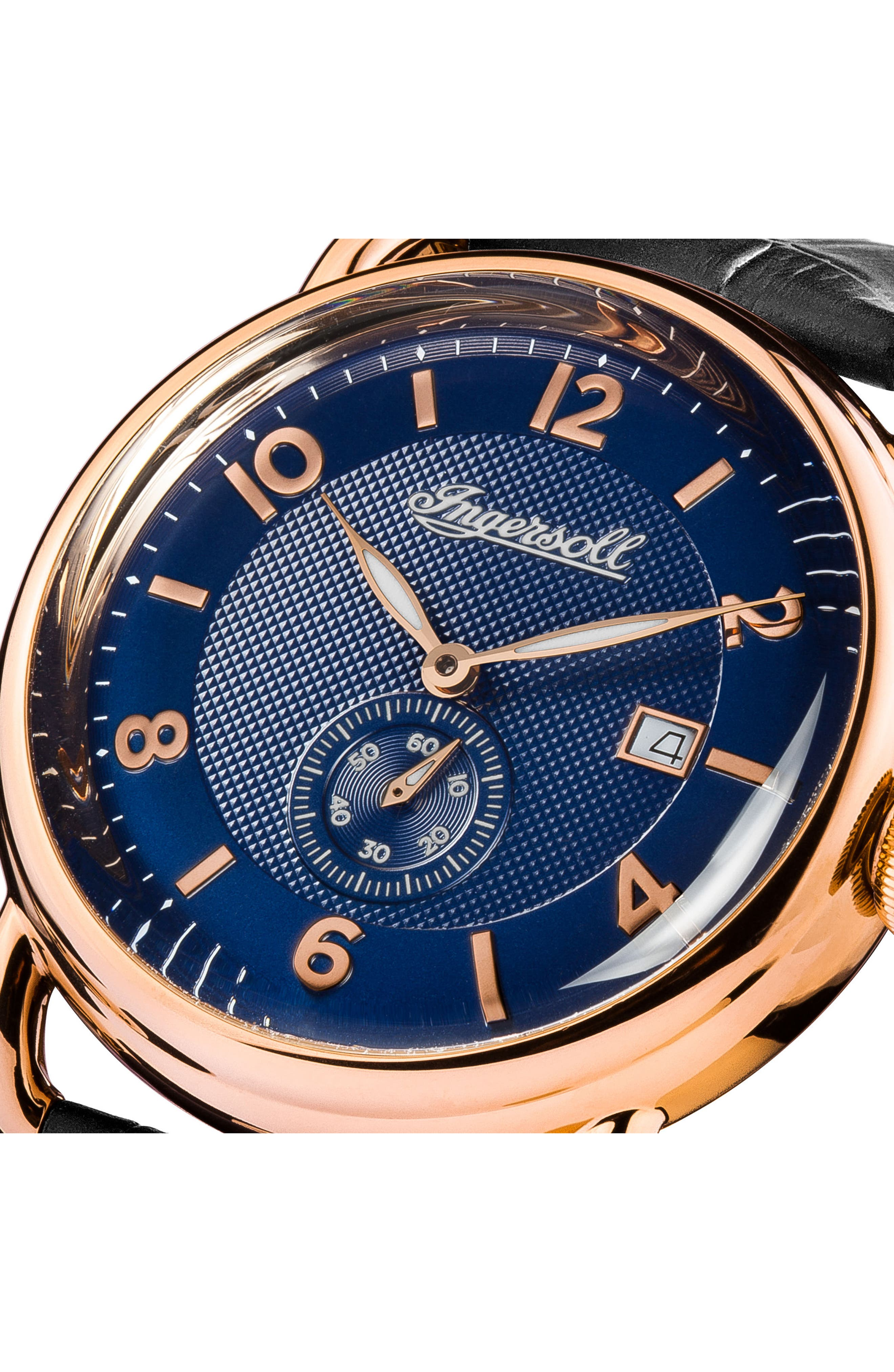 Ingersoll New England Leather Strap Watch, 42mm,                             Alternate thumbnail 10, color,