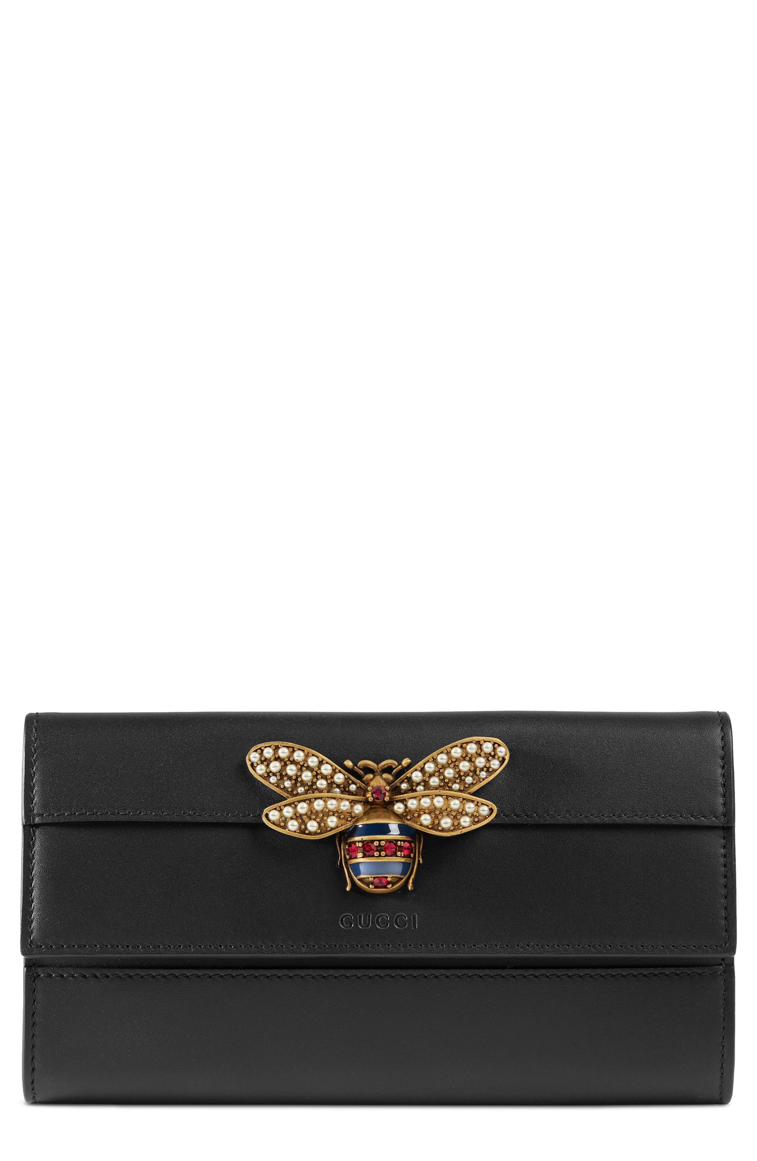 Queen Margaret Leather Flap Wallet,                         Main,                         color, NERO/ NERO/ RUBY