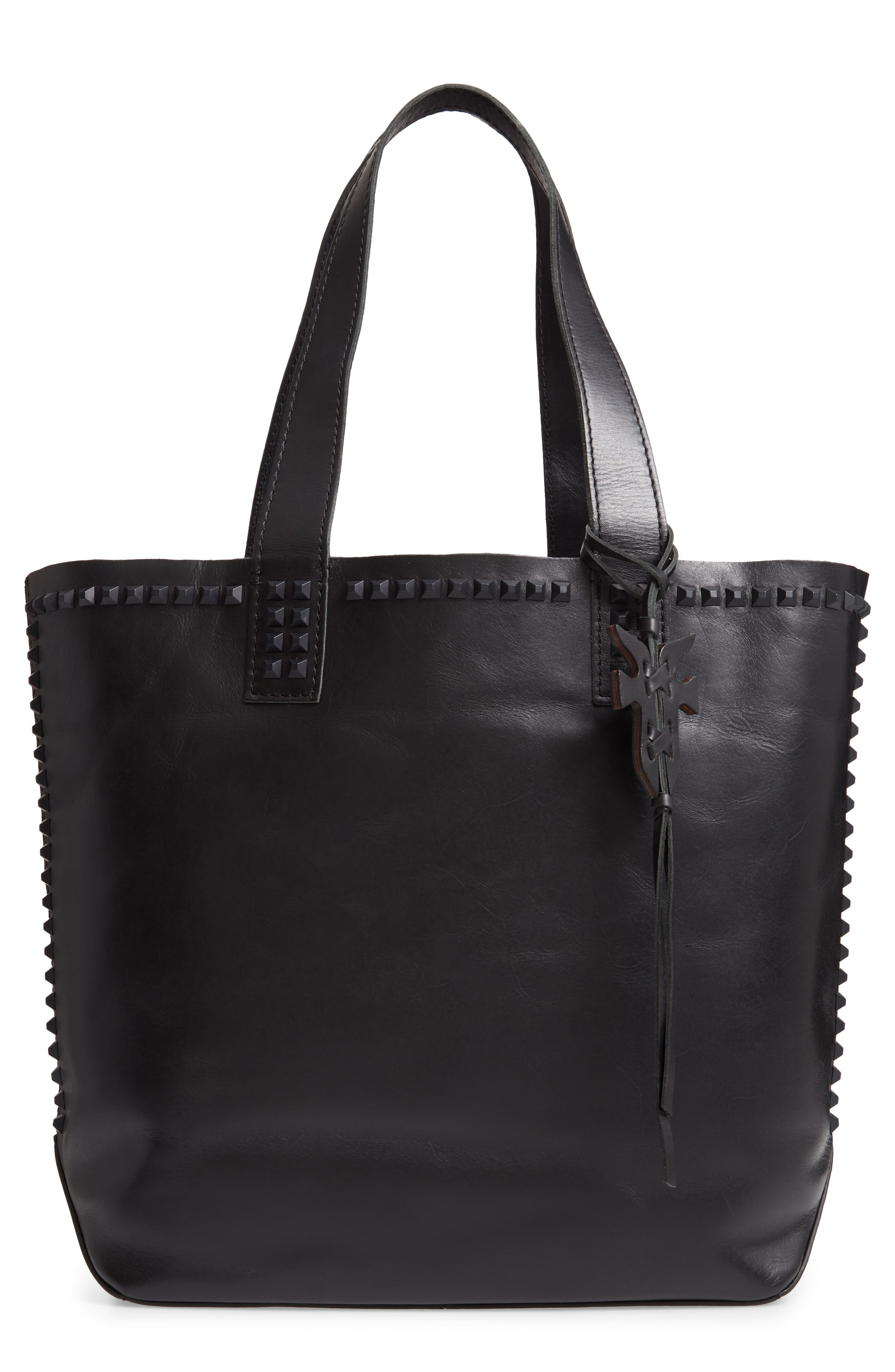 Carson Studded Leather Tote,                         Main,                         color, BLACK