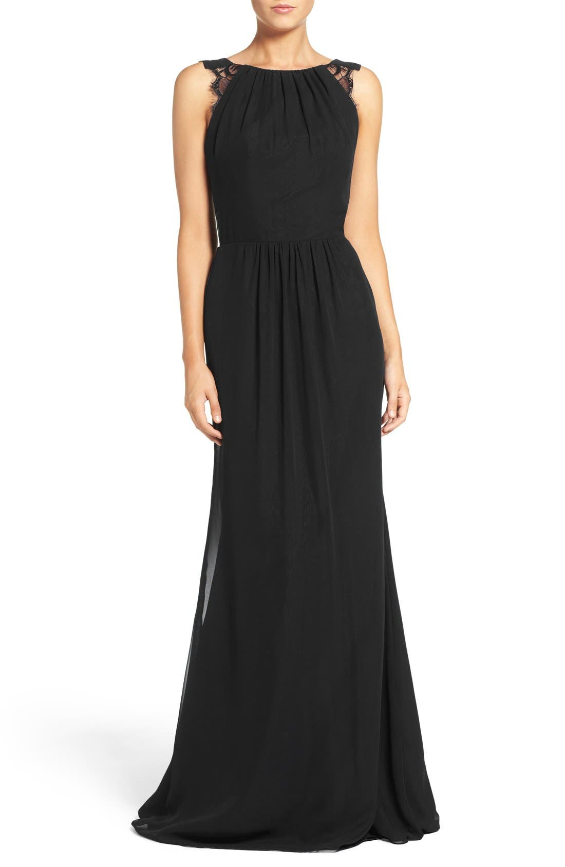 Lace Strap Gathered Chiffon Gown,                             Main thumbnail 1, color,
