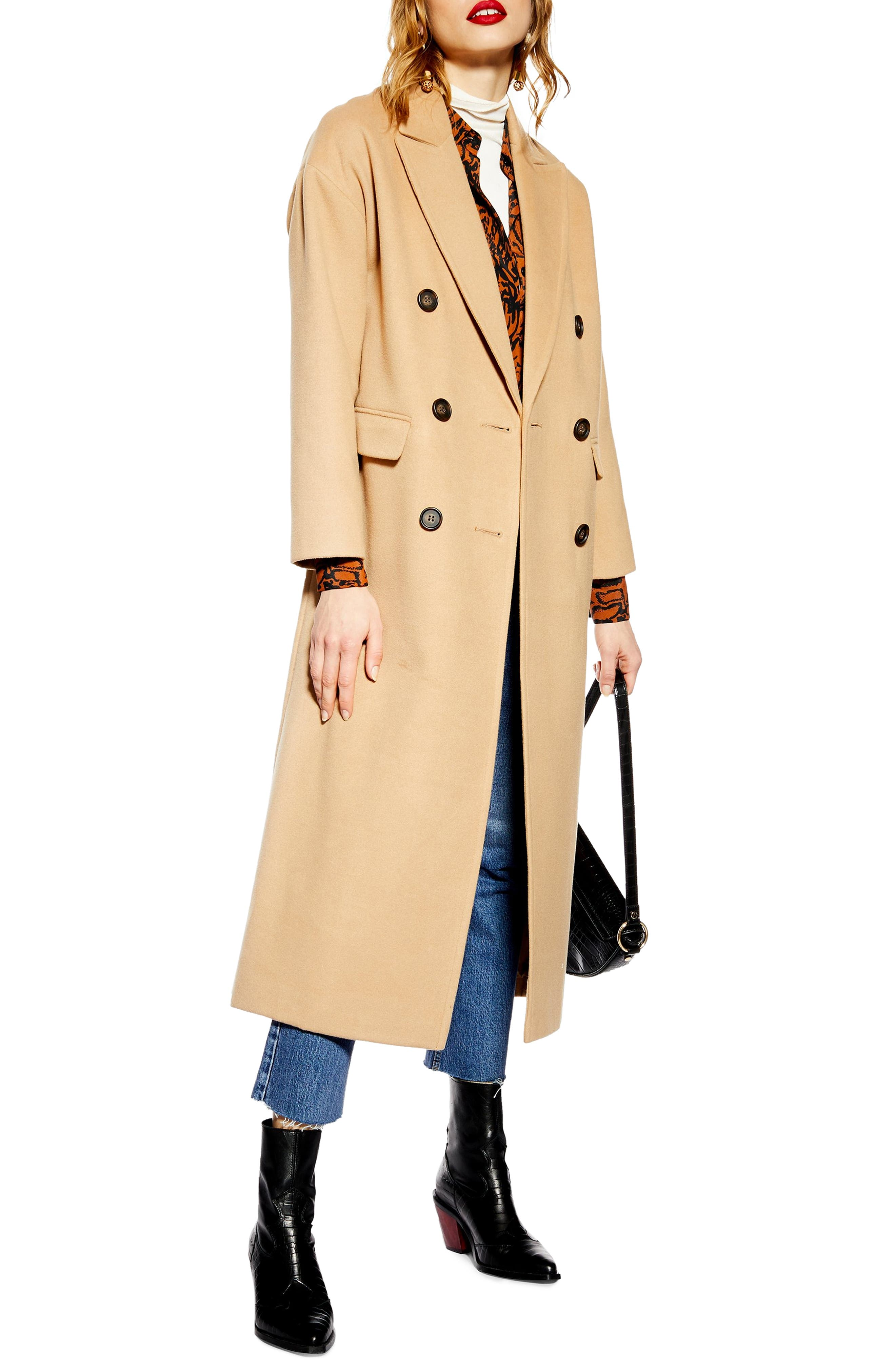 Frankie Double Breasted Coat,                             Main thumbnail 1, color,                             CAMEL