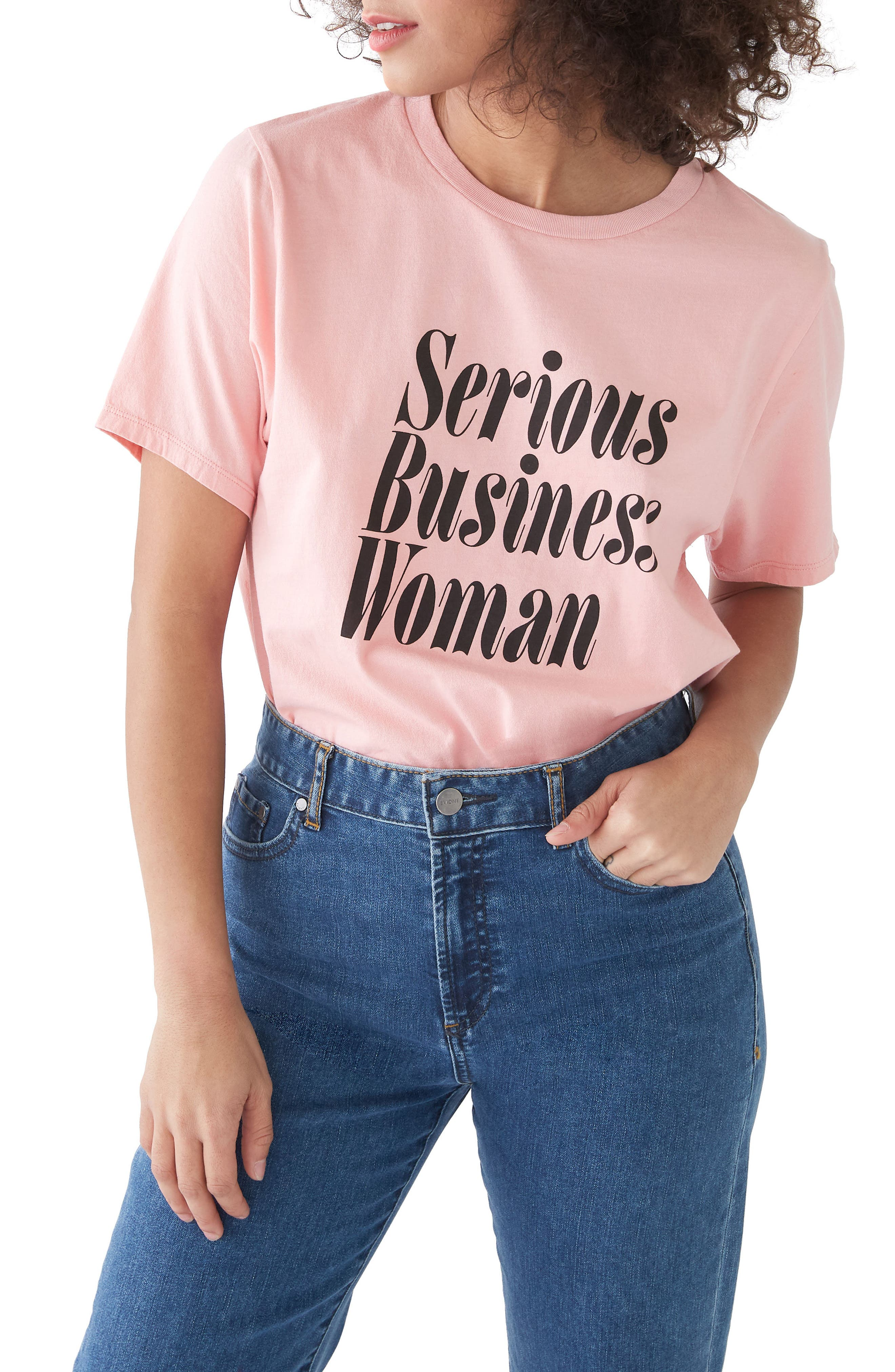 Serious Business Woman Classic Tee,                             Main thumbnail 1, color,                             CAMEO PINK