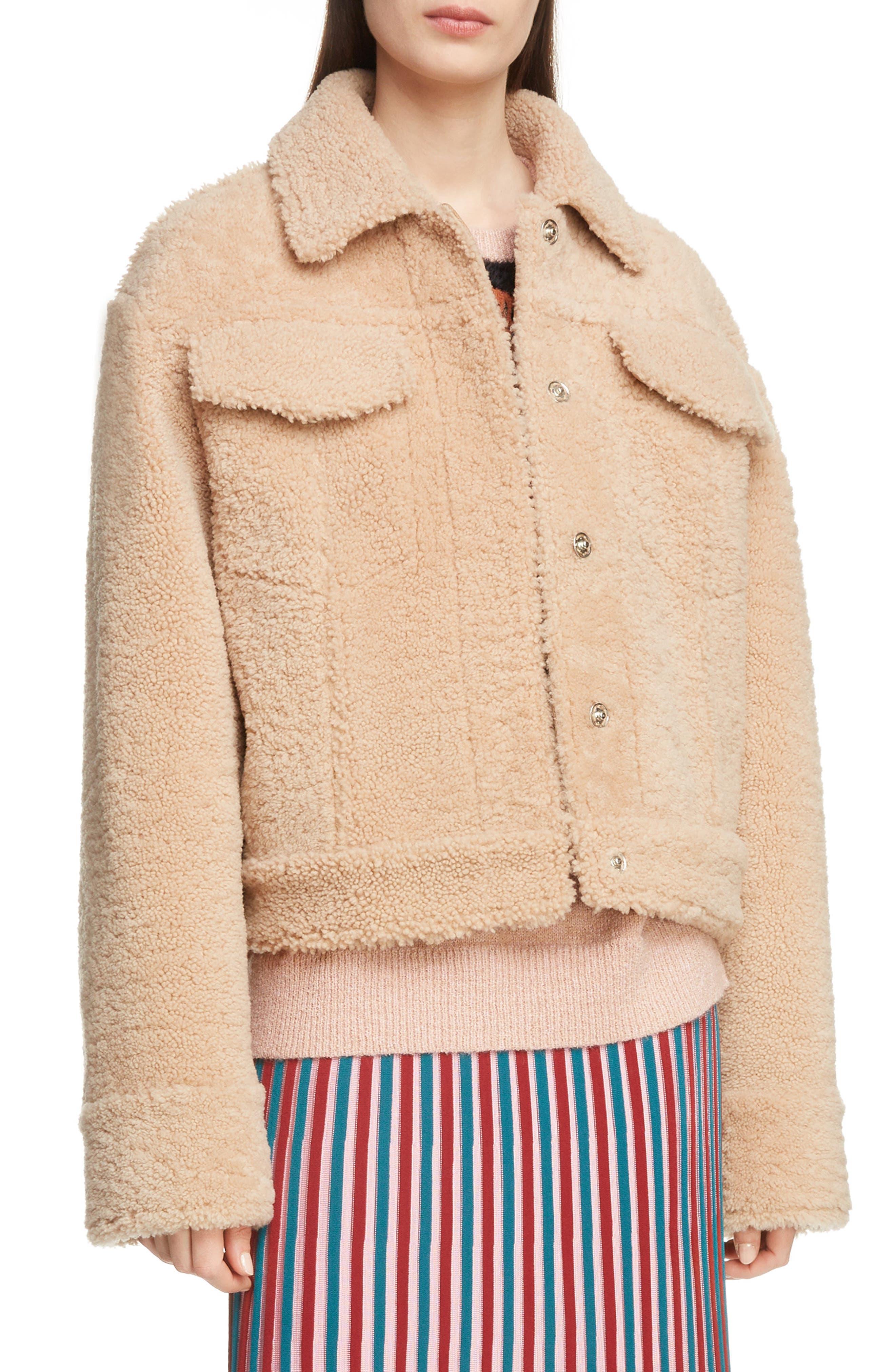 Reversible Genuine Shearling Trucker Jacket,                         Main,                         color, 252