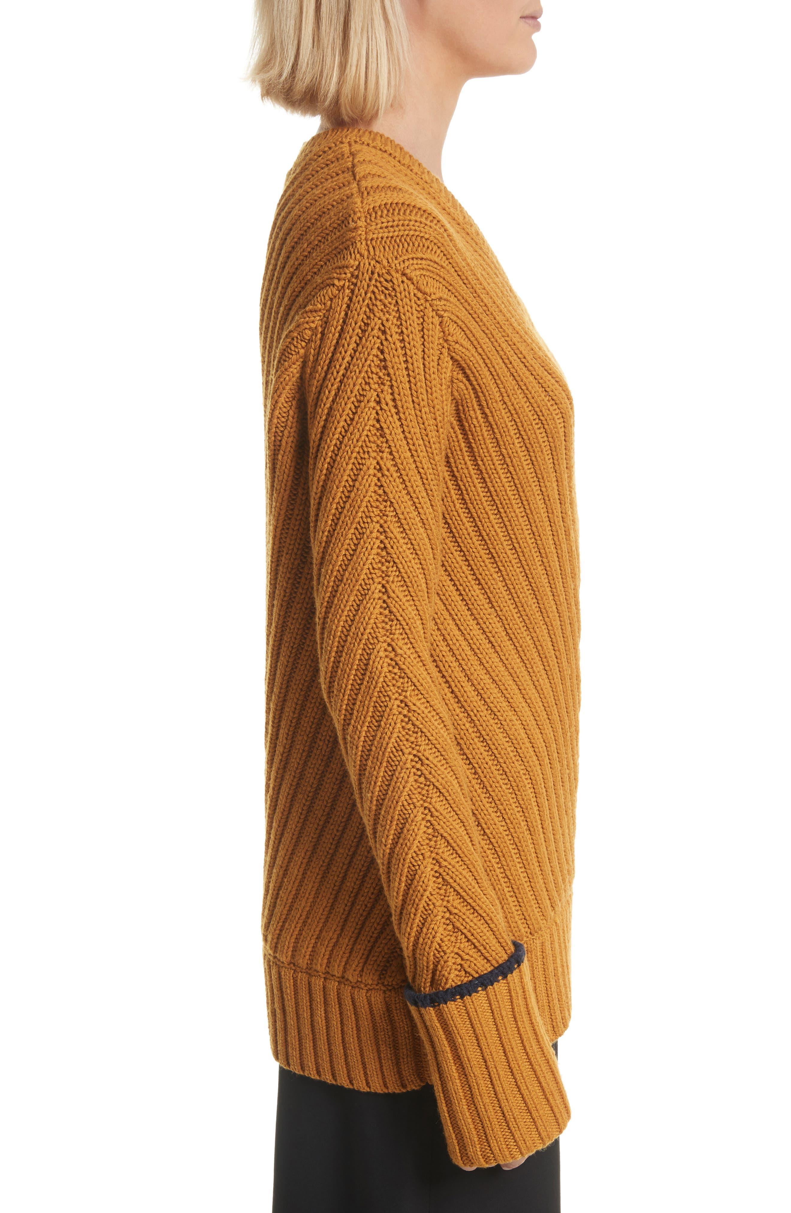 Rib Knit Wool Blend Sweater,                             Alternate thumbnail 3, color,                             466
