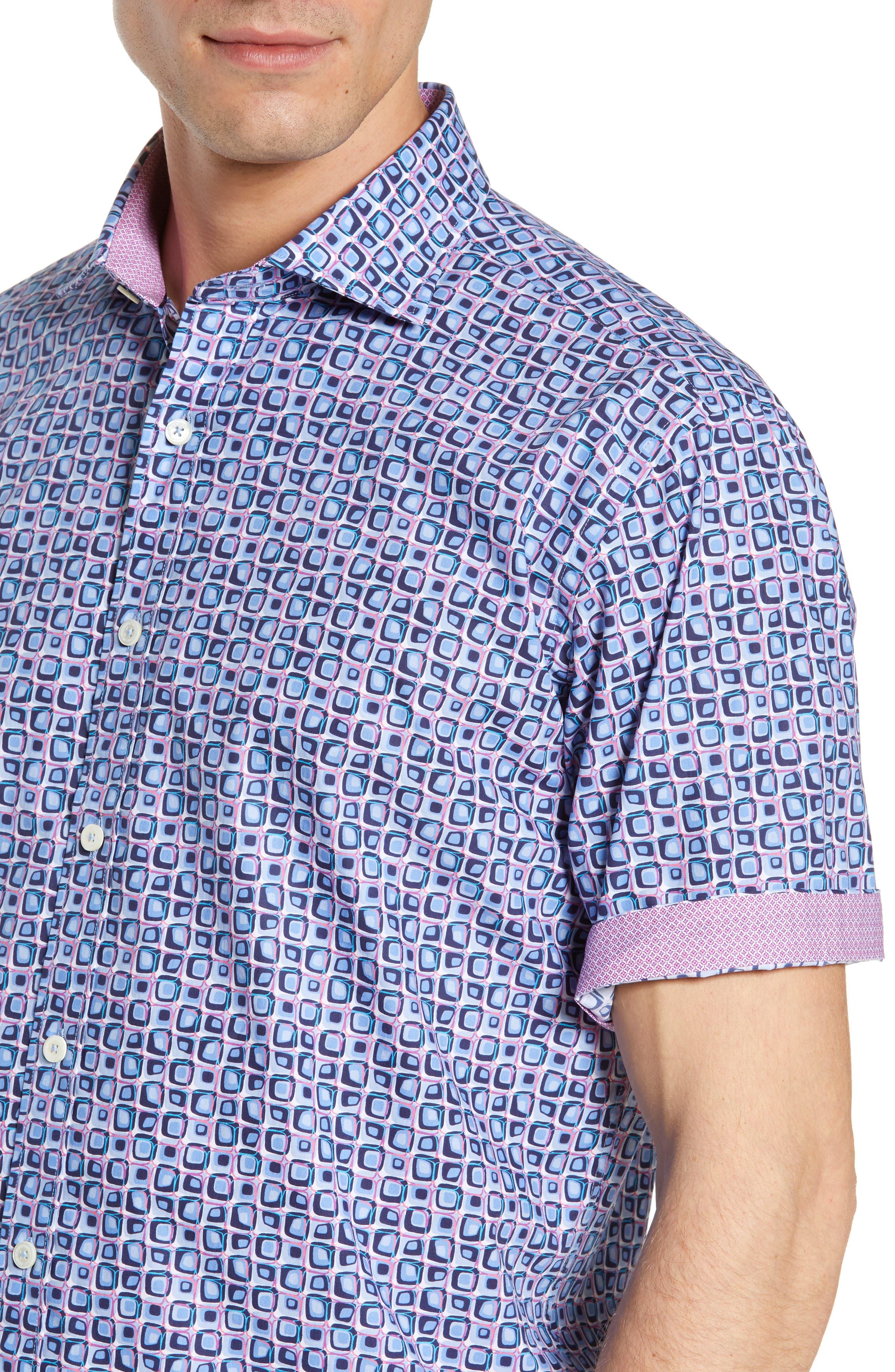 Classic Fit Print Sport Shirt,                             Alternate thumbnail 2, color,                             AIR BLUE