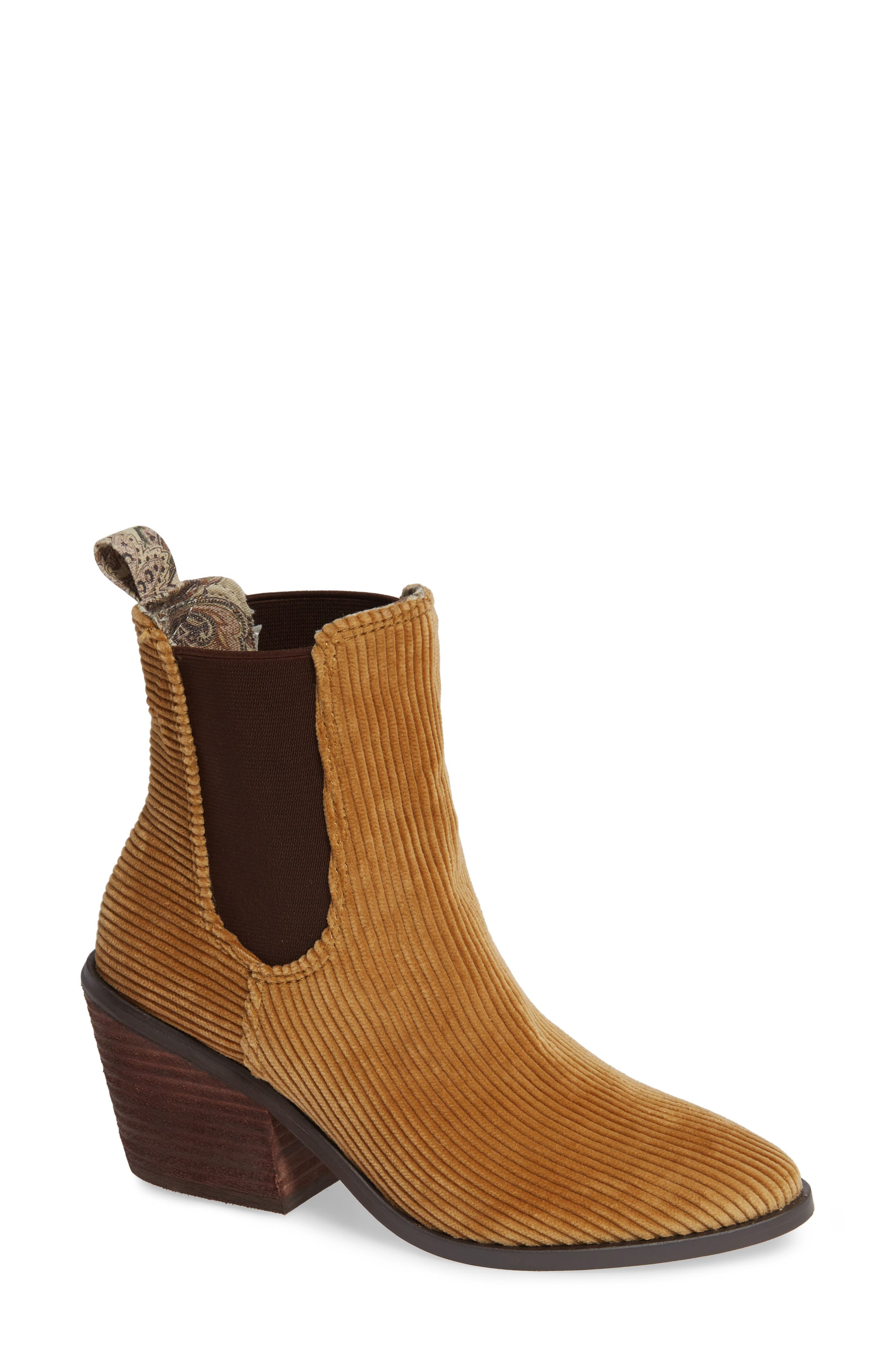 BAND OF GYPSIES Shadow Chelsea Boot in Tan Corduroy