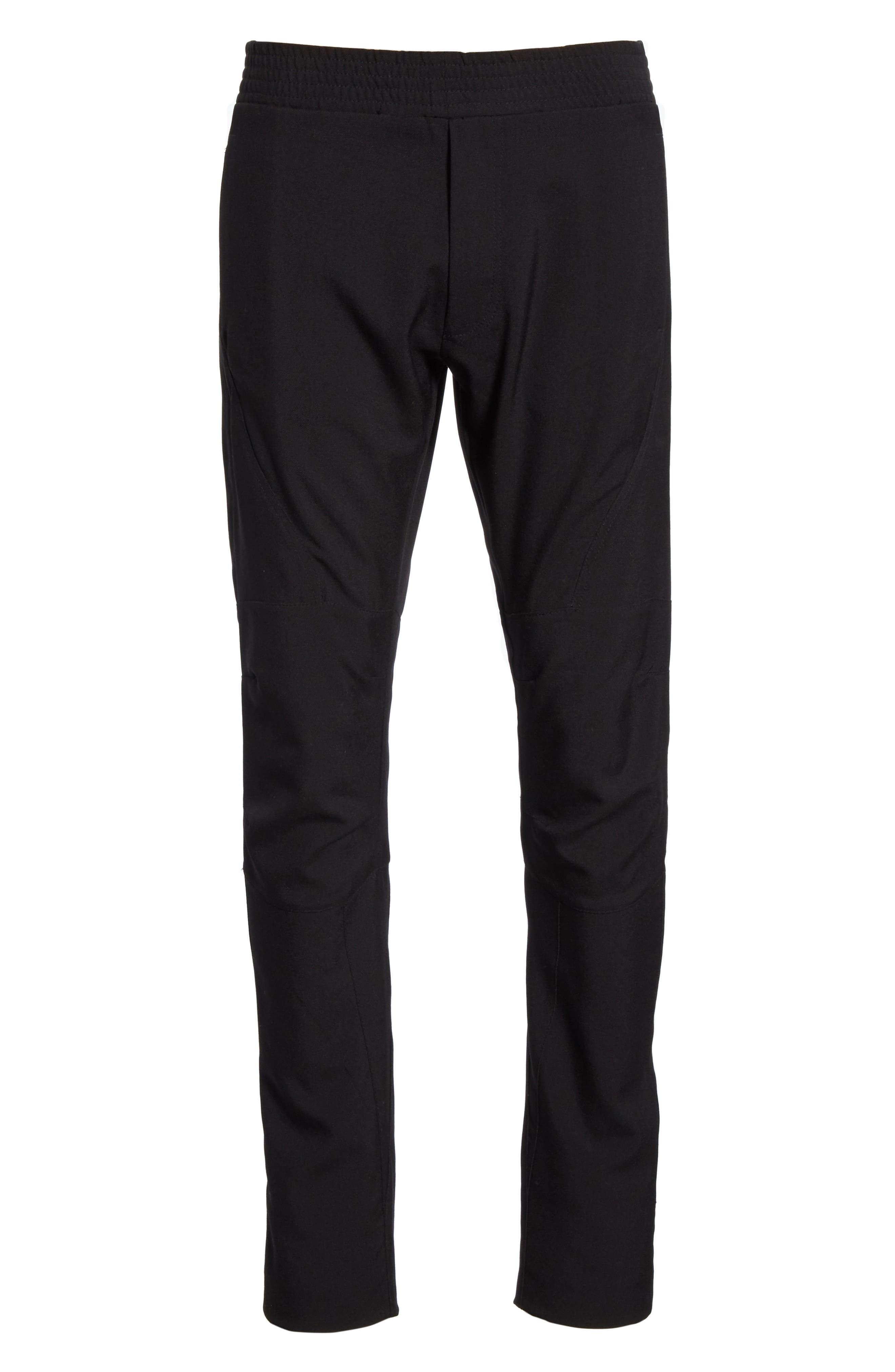 Wool & Mohair Biker Pants,                             Alternate thumbnail 6, color,                             BLACK