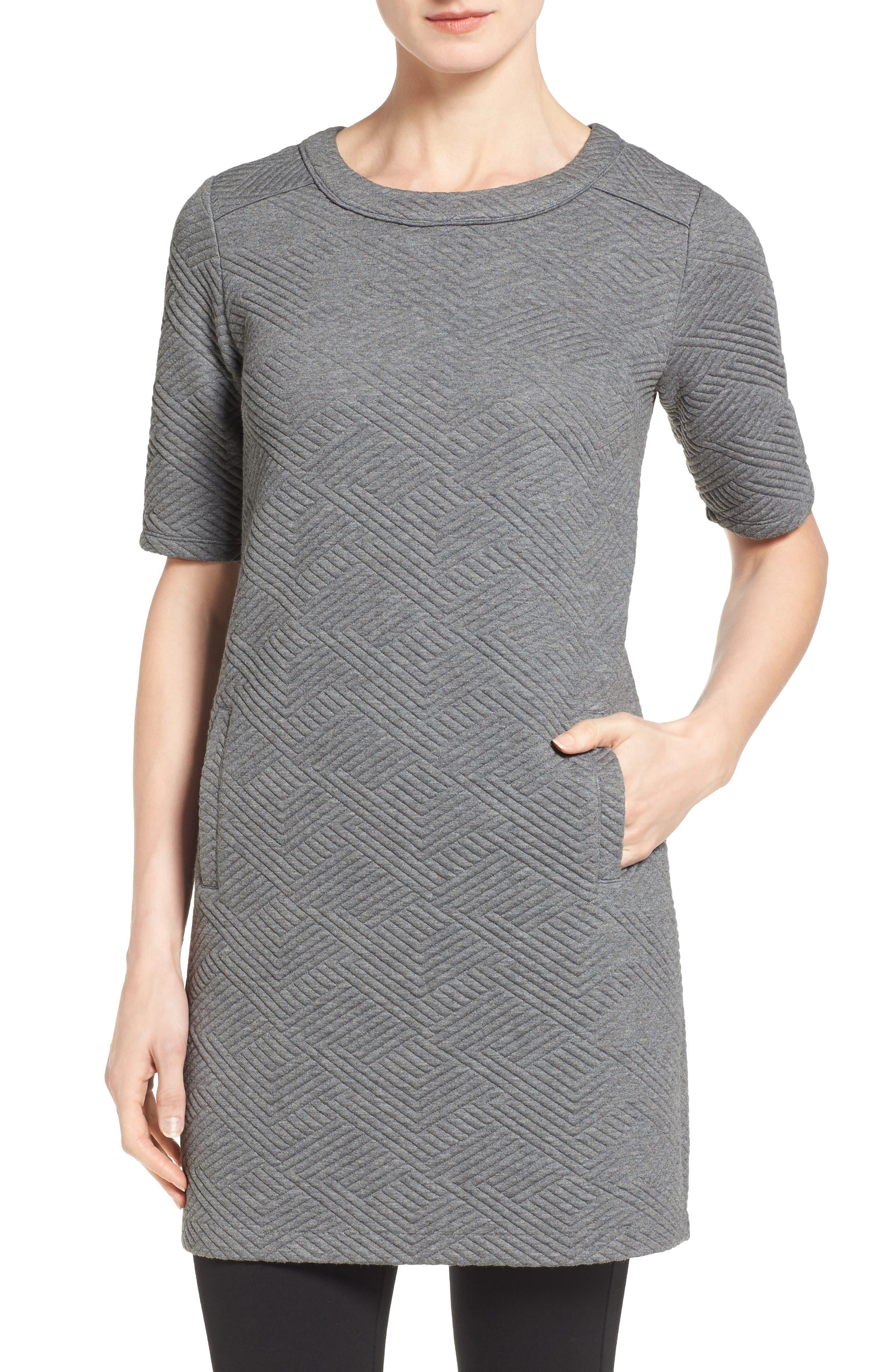 Textured Elbow Sleeve Tunic Dress,                             Alternate thumbnail 6, color,                             030