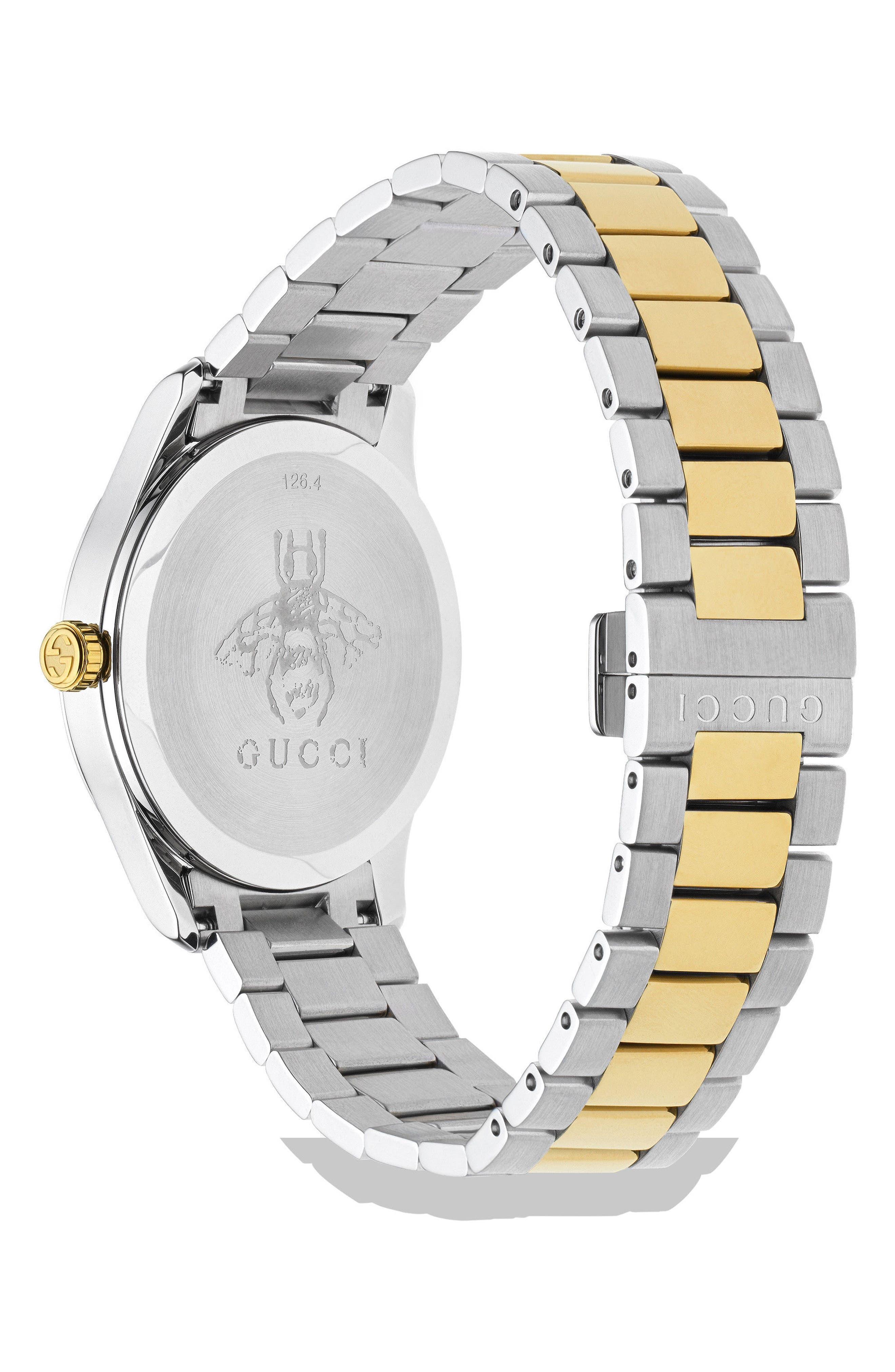 G-Timeless Bracelet Watch, 38mm,                             Alternate thumbnail 2, color,                             SILVER/ GOLD