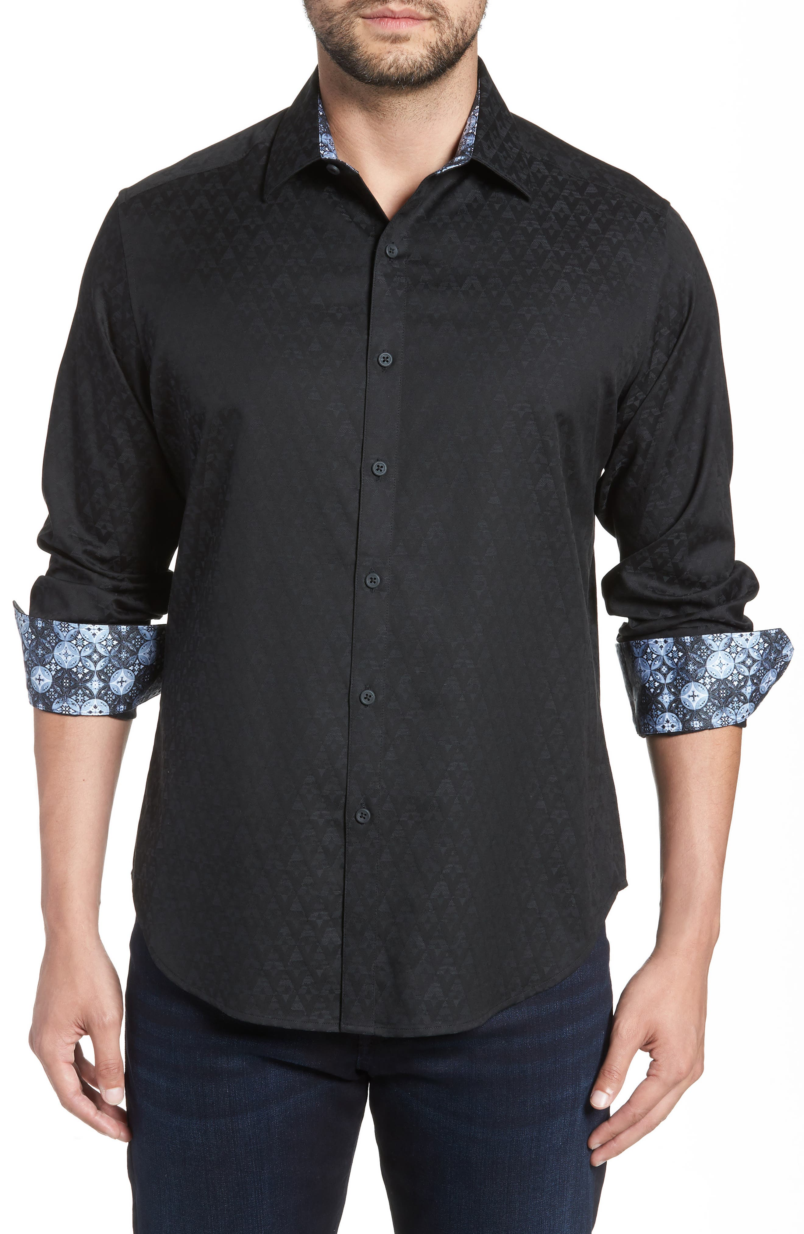Classic Fit Stretch Geometric Sport Shirt,                             Main thumbnail 1, color,                             BLACK