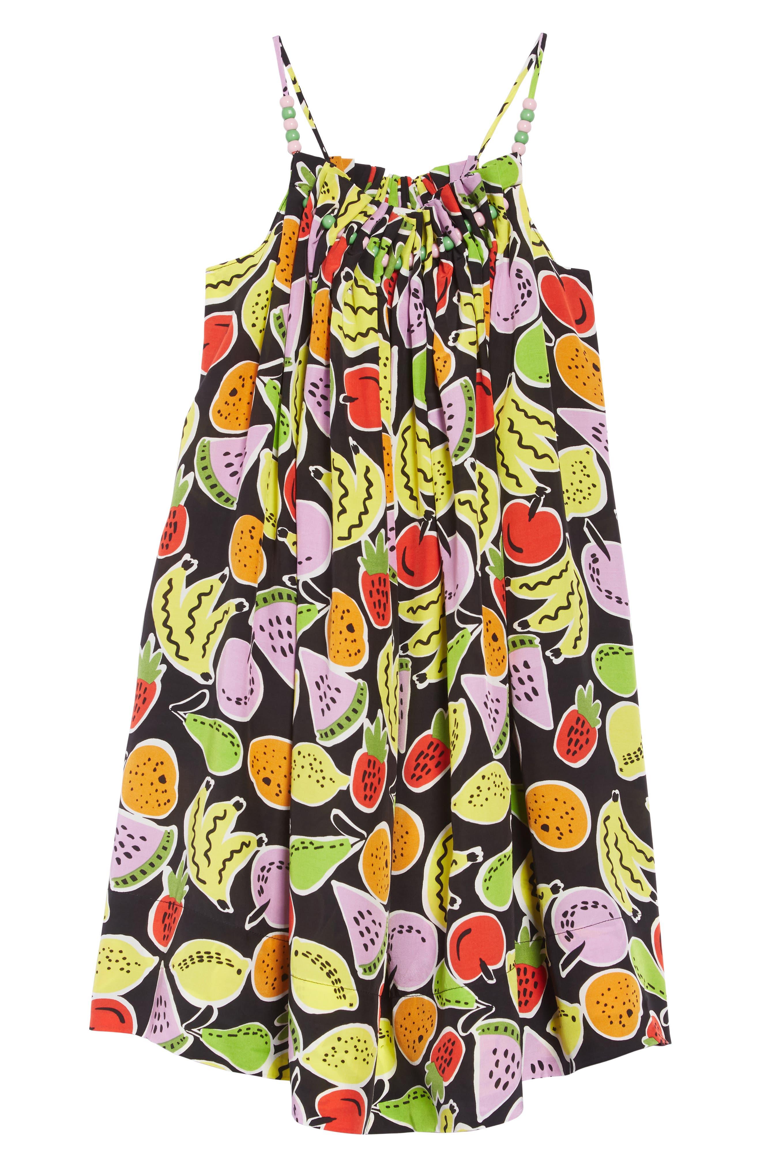 Stella McCartney Fruit Print Sundress, Main, color, 1090 BLACK