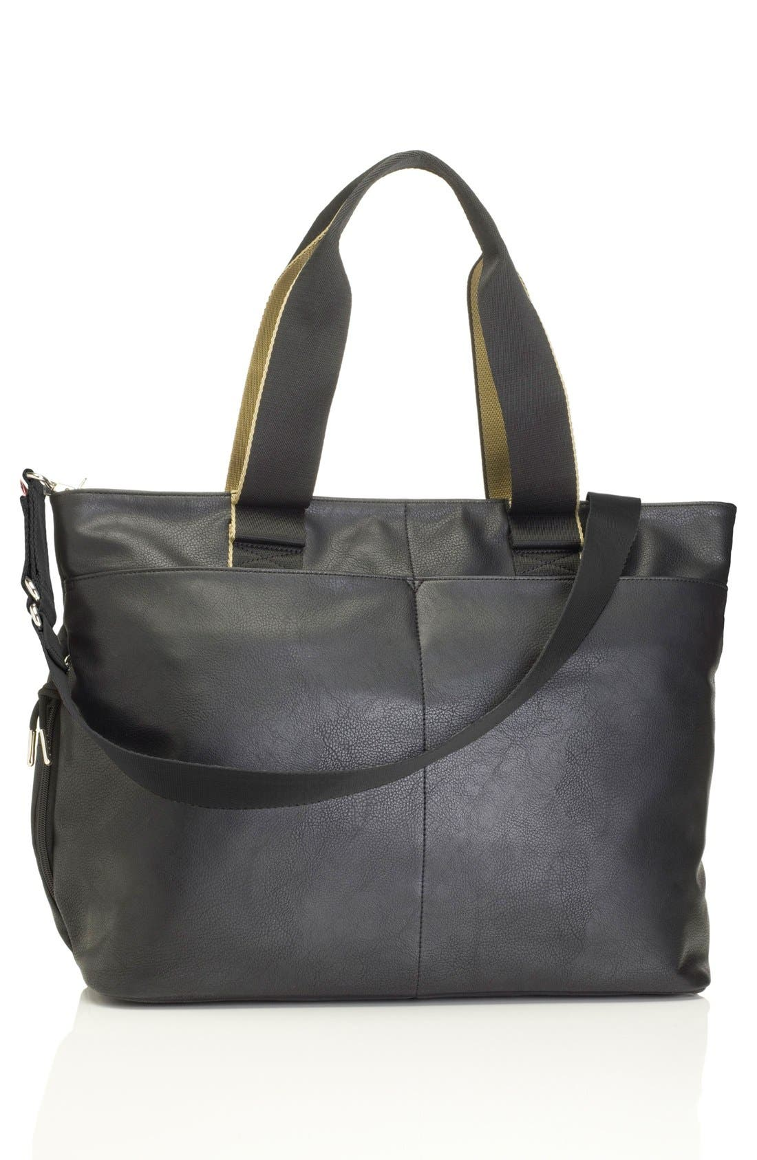 'Eden' Faux Leather Diaper Bag,                             Alternate thumbnail 3, color,                             BLACK