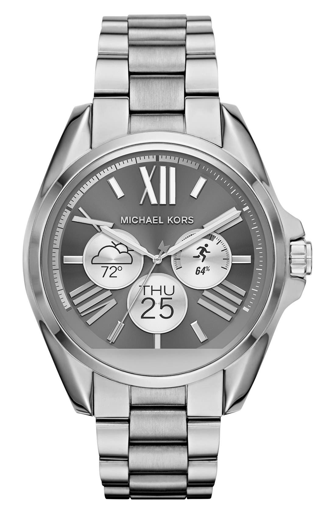 MICHAEL Michael Kors Bradshaw Access Bracelet Smart Watch, 45mm,                             Alternate thumbnail 4, color,                             SILVER/ SILVER
