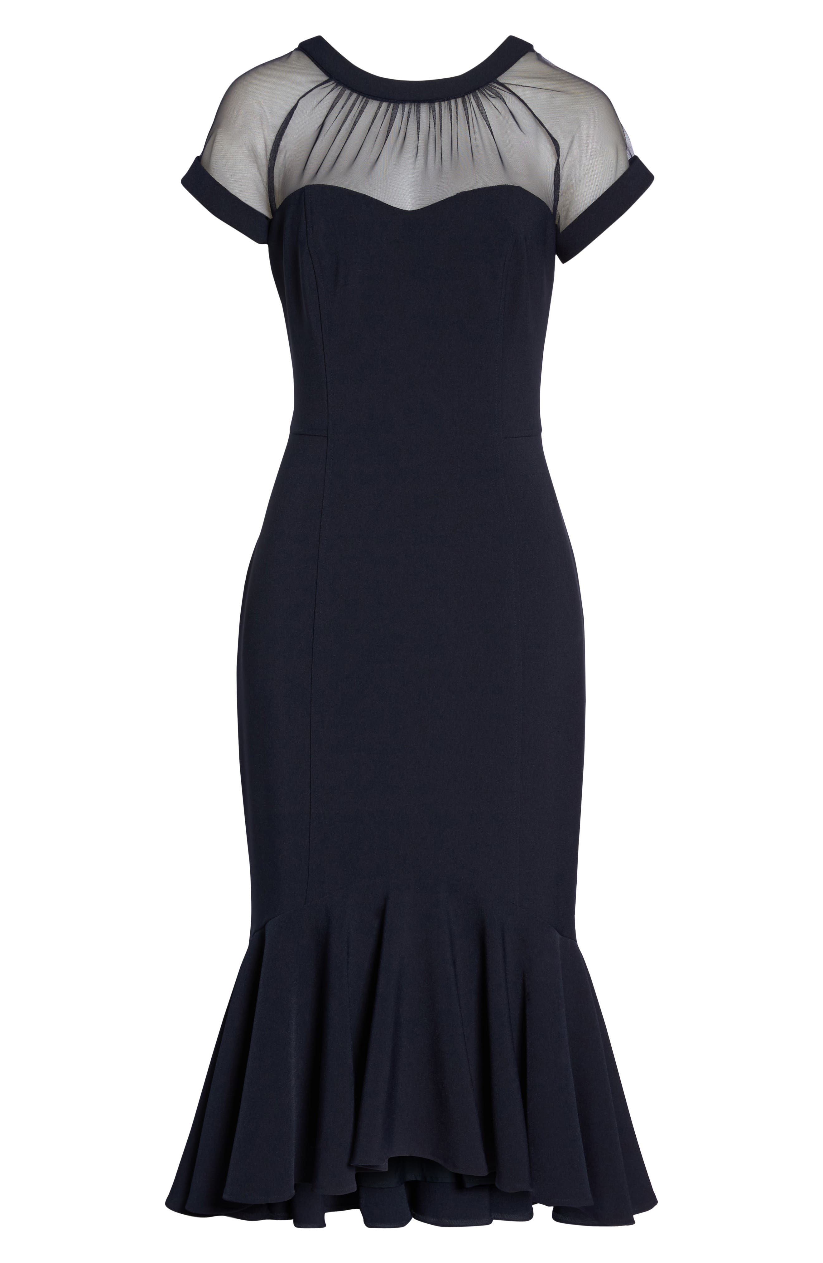 Illusion Neck Crepe Trumpet Dress,                             Alternate thumbnail 7, color,                             DARK NAVY