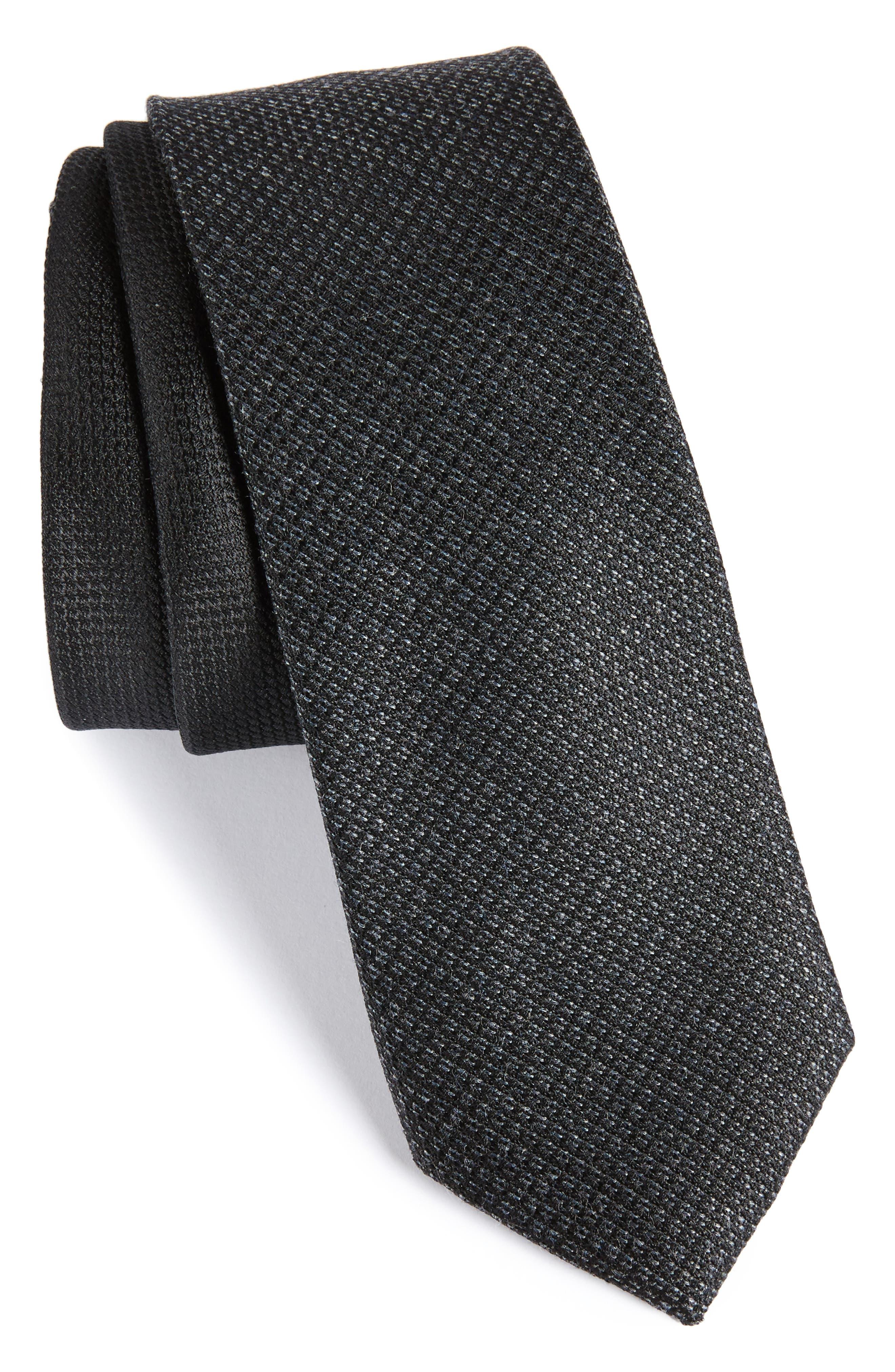 Kenton Textured Silk Blend Skinny Tie,                             Main thumbnail 1, color,