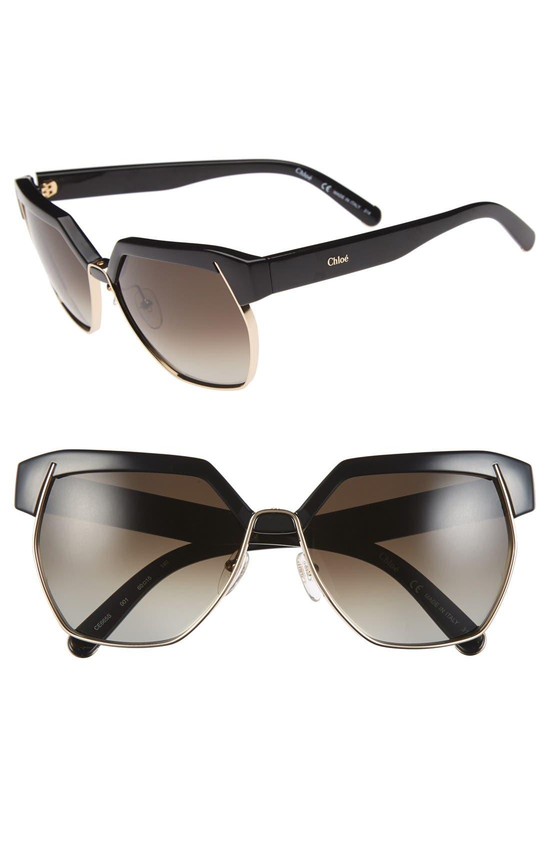 'Dafne ' 60mm Gradient Sunglasses, Main, color, 001