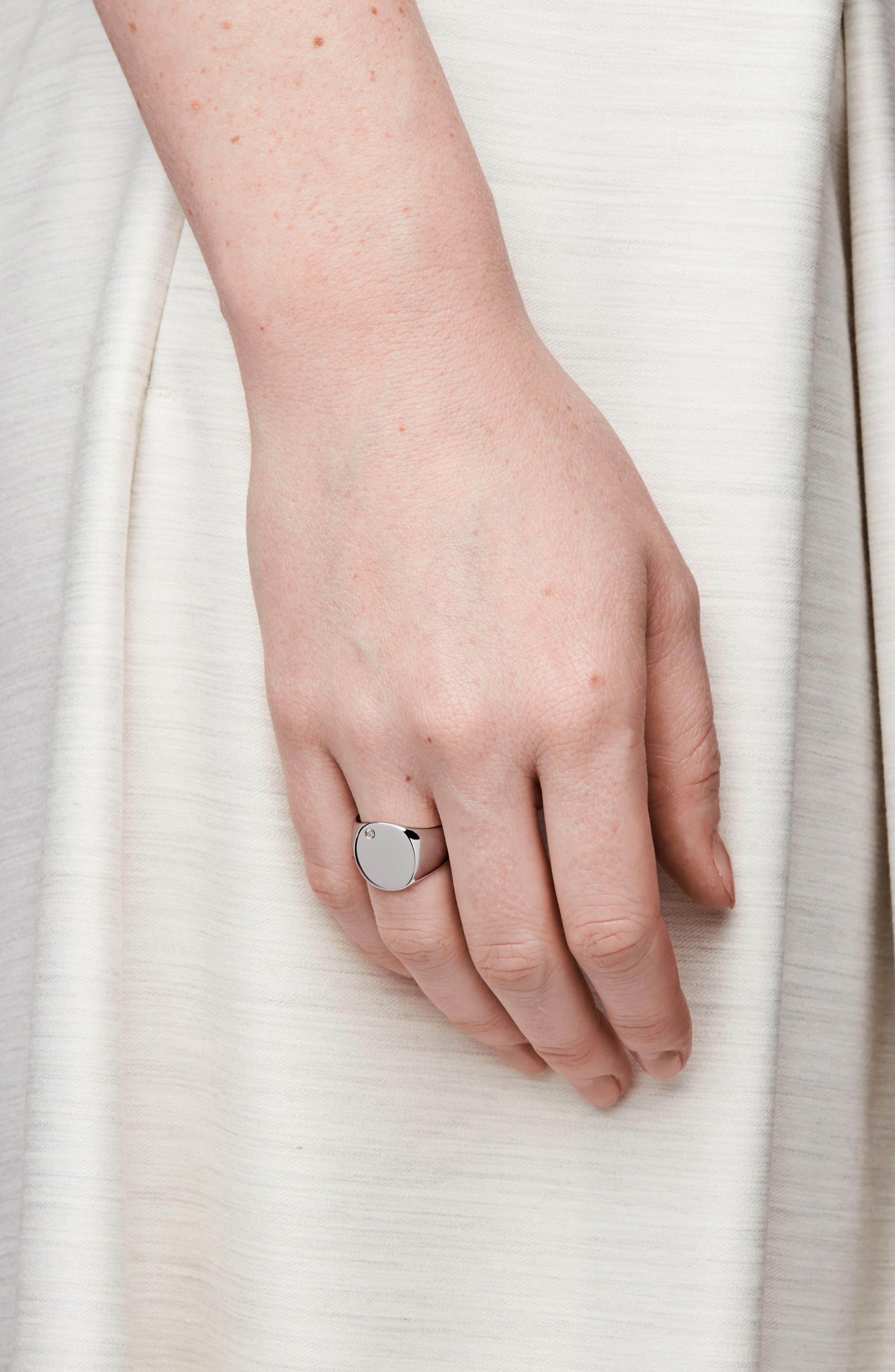 Oval Silver & Diamond Signet Ring,                             Alternate thumbnail 2, color,                             044