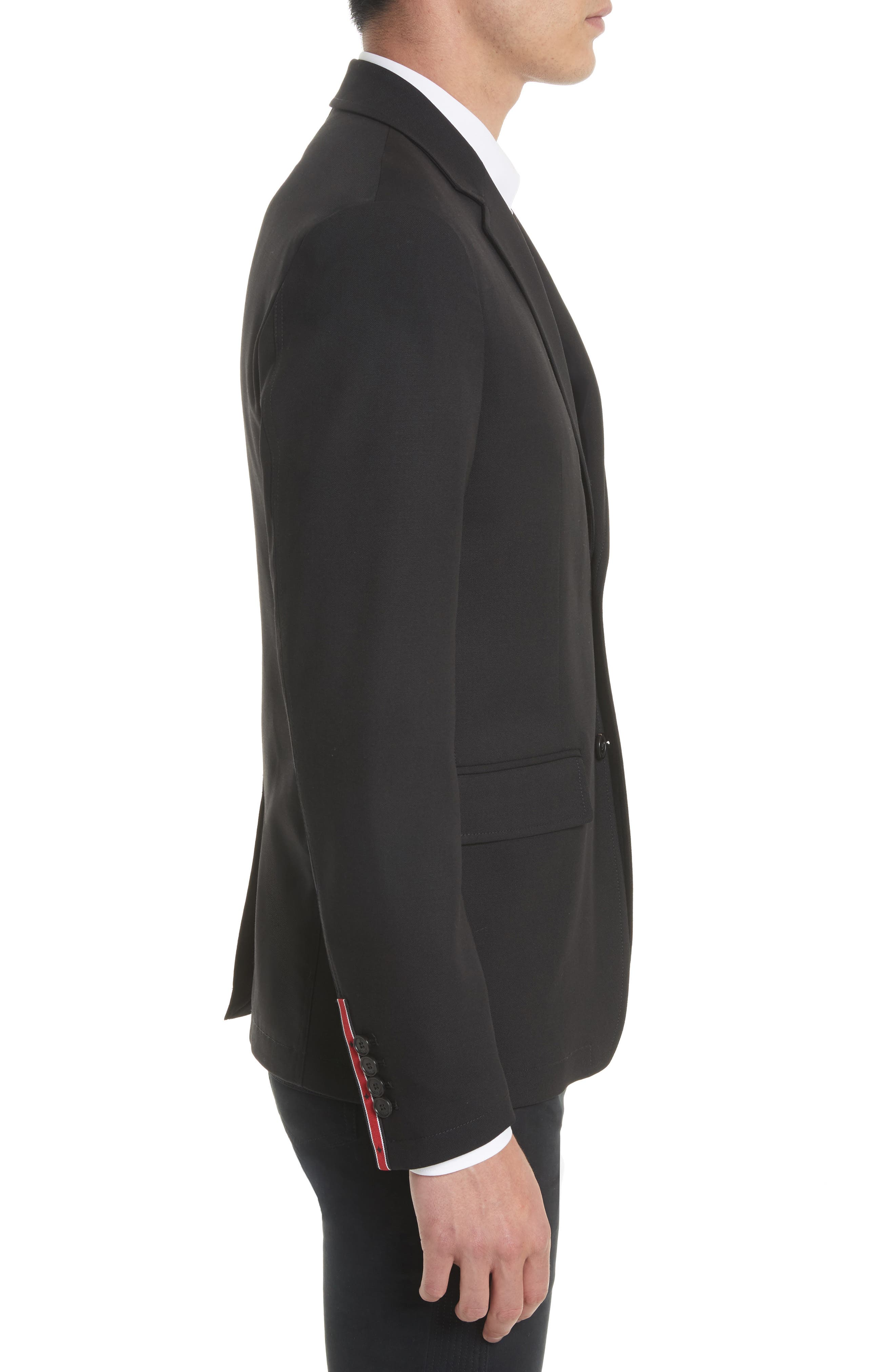 Star Tape Stretch Wool Jacket,                             Alternate thumbnail 4, color,